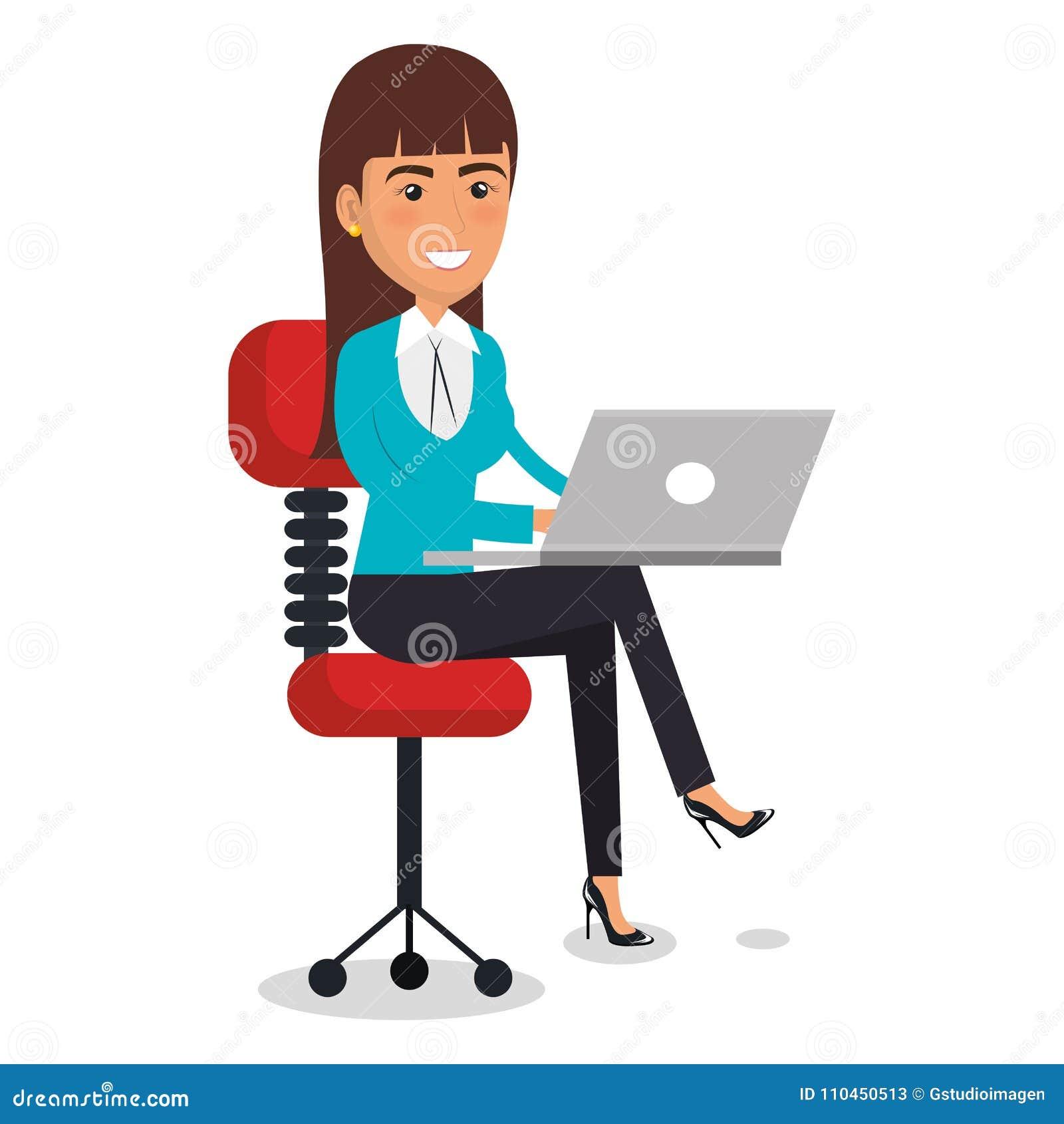 Affärskvinna i stolarbetsplatstecken