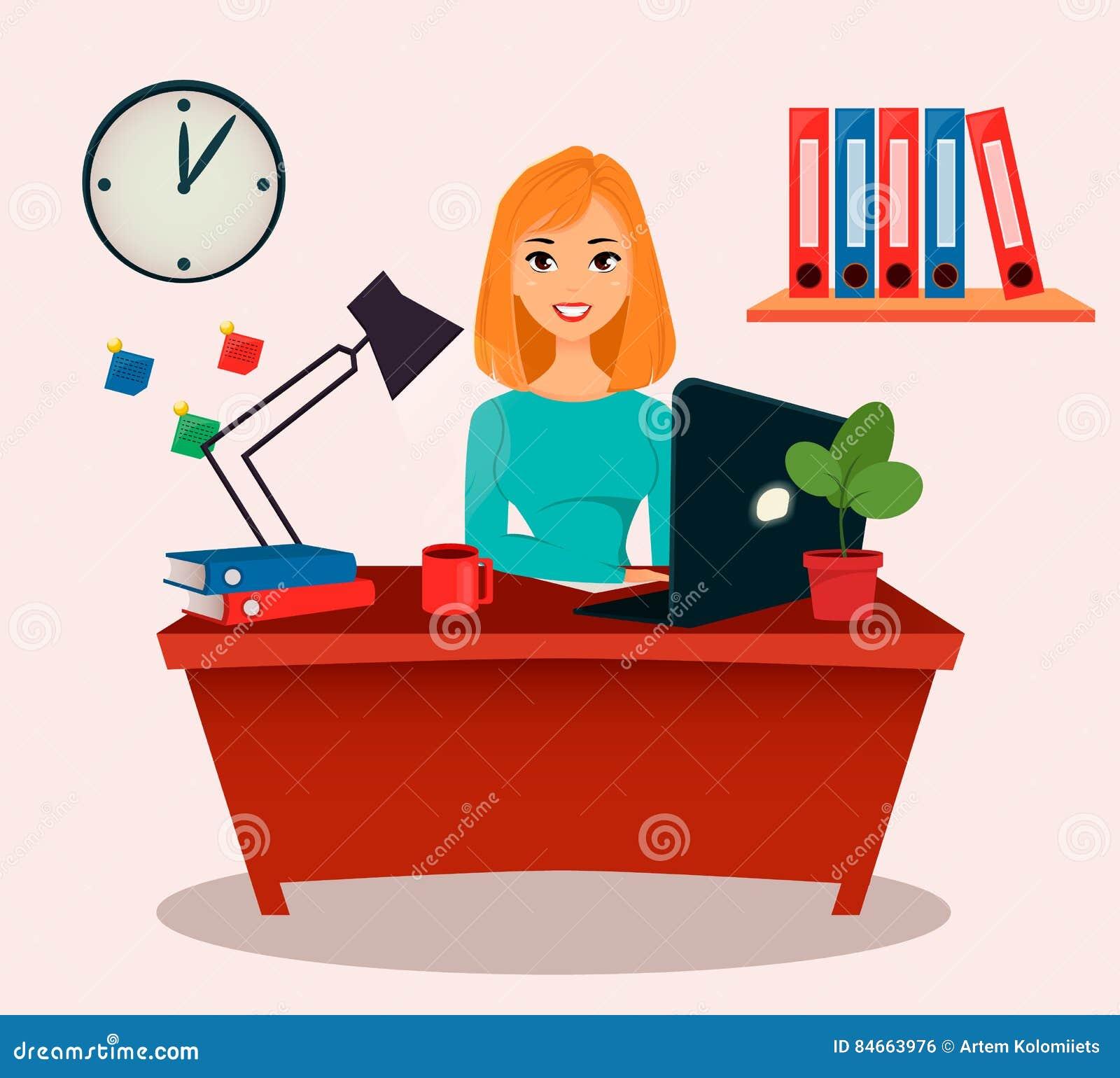 Affärskvinna, kontorsarbetare Härligt ung flickasammanträde på tabellen som arbetar med en bärbar dator