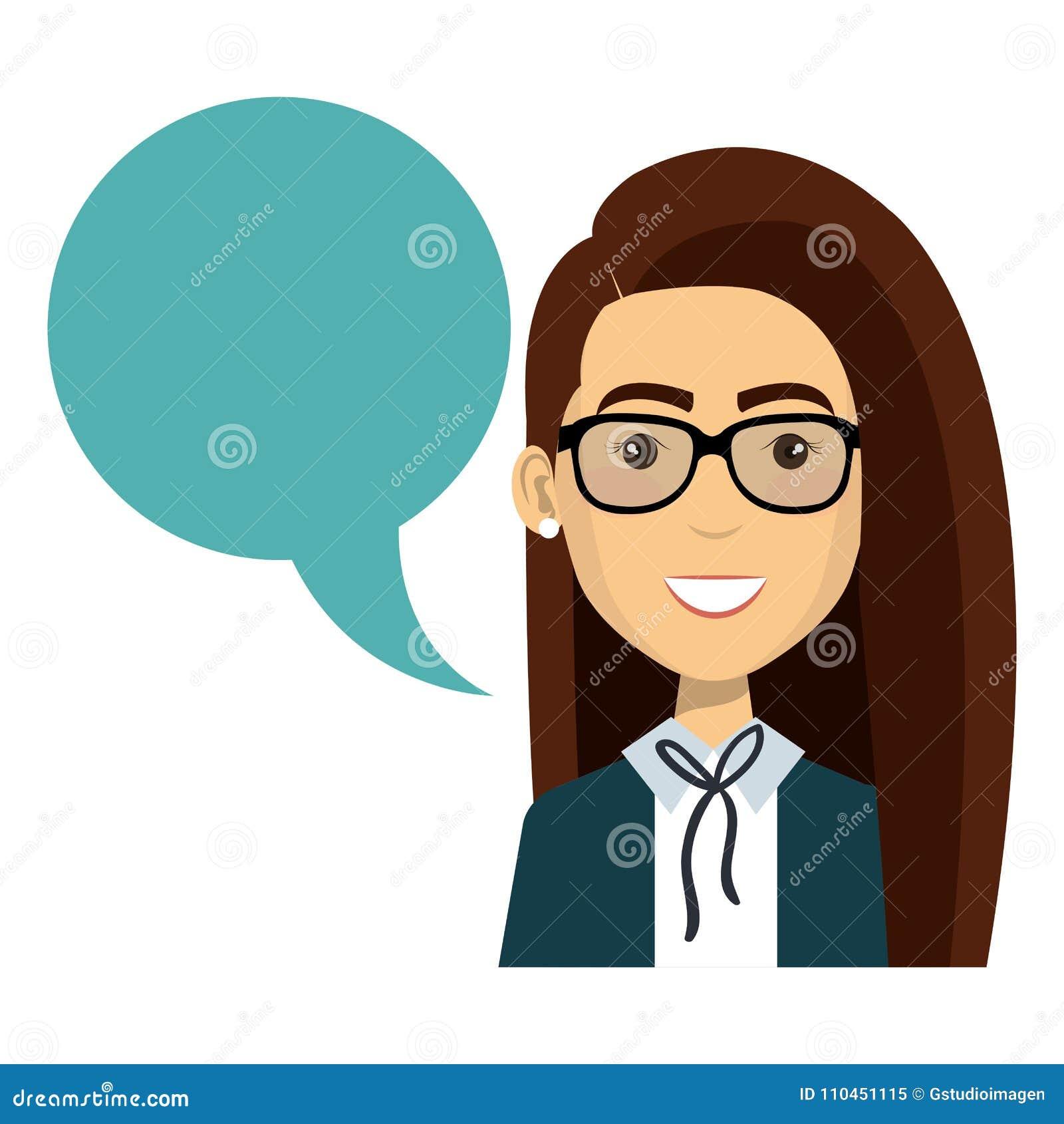 Affärskvinna med anförandebubblan