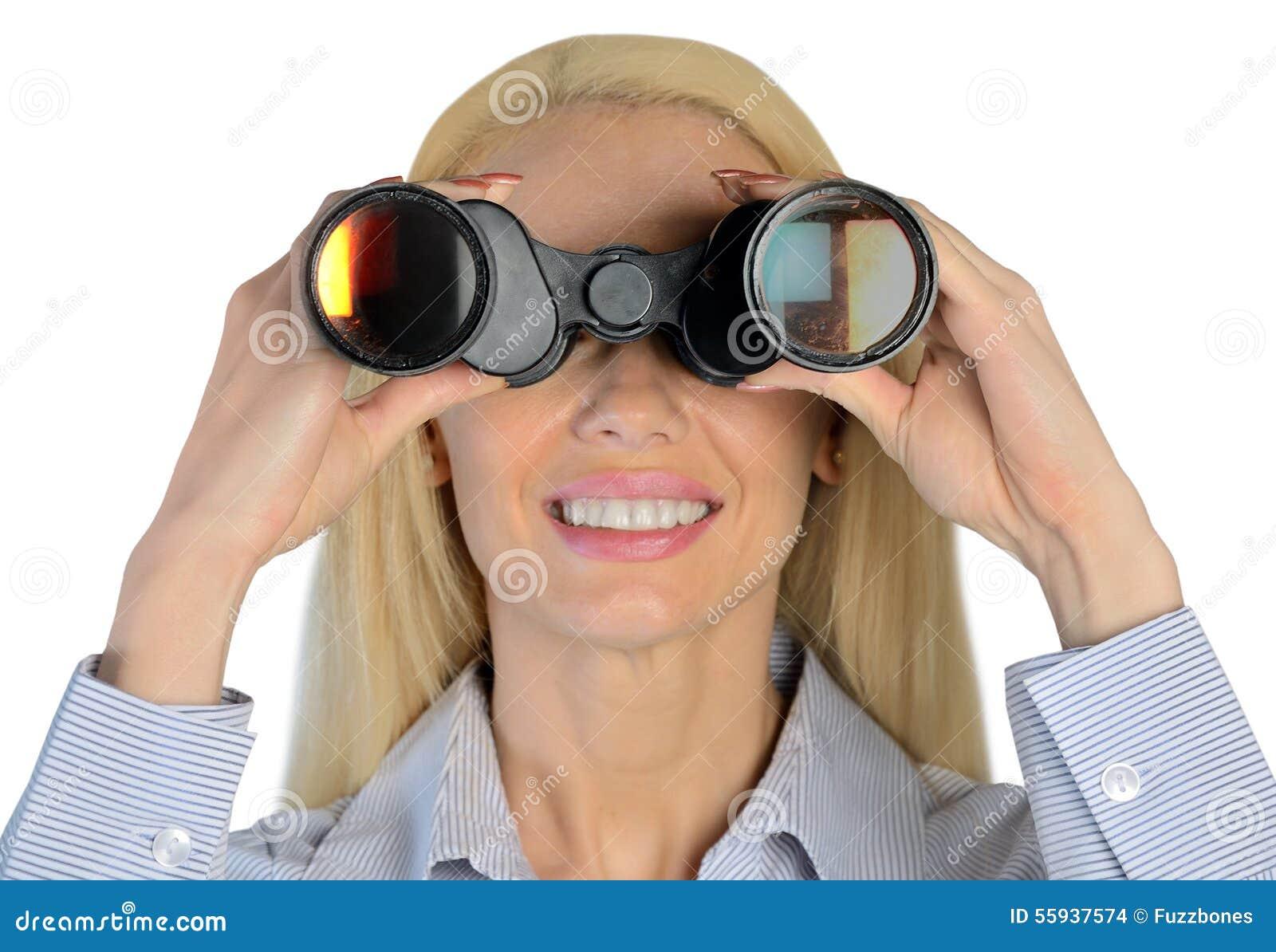 Affärskvinna med kikare