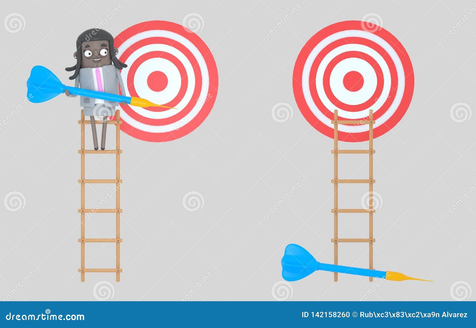 Affärskvinna på stegen som rymmer en blå pil dartboard isolerat