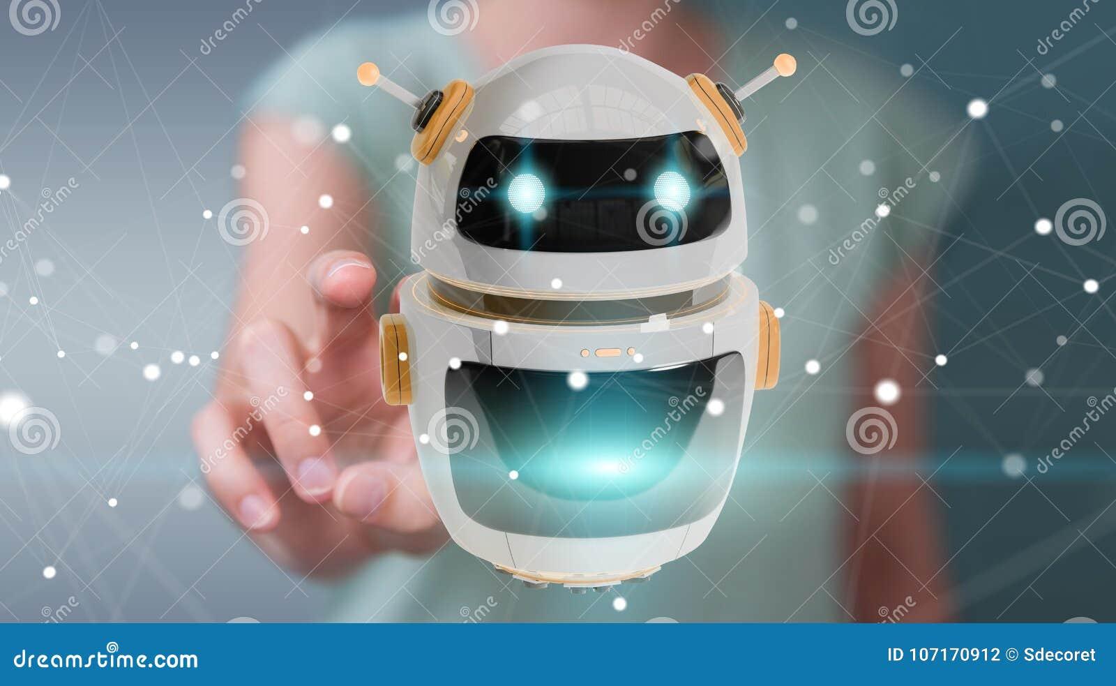 Affärskvinna som använder digital renderi för chatbotrobotapplikation 3D
