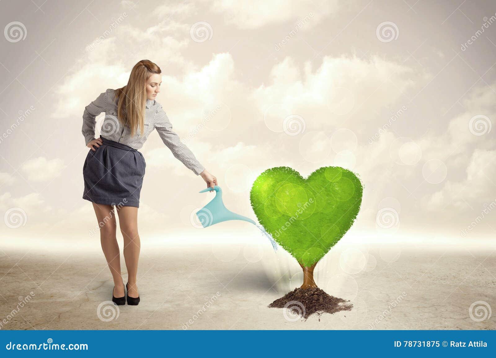 Affärskvinna som bevattnar det hjärta formade gröna trädet