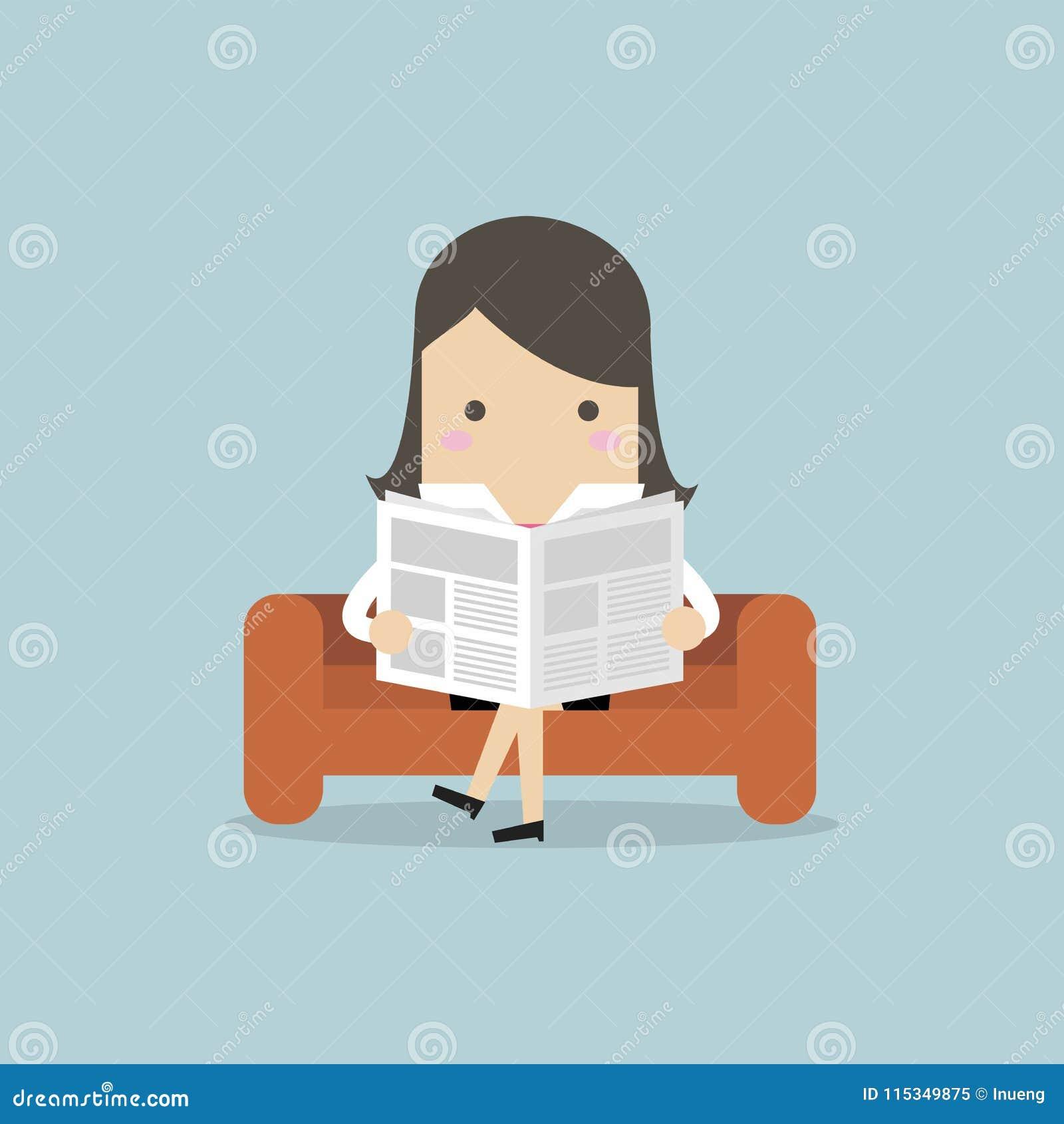 Affärskvinna som läser en tidning på soffan i rum och kontor