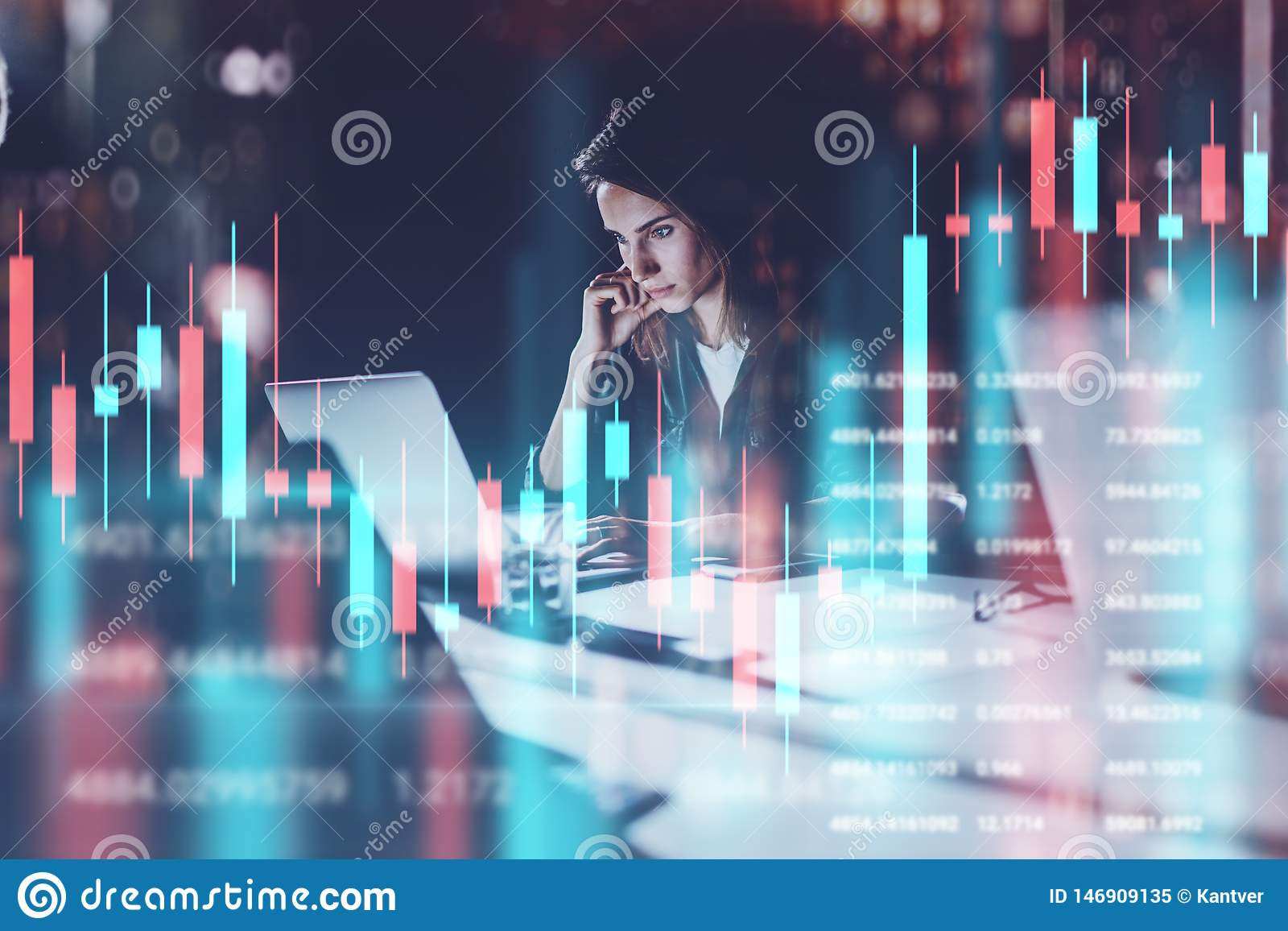 Affärskvinna som sitter på datoren för bärbar dator för nattkontor den främsta med finansiell grafer och statistik på bildskärm R