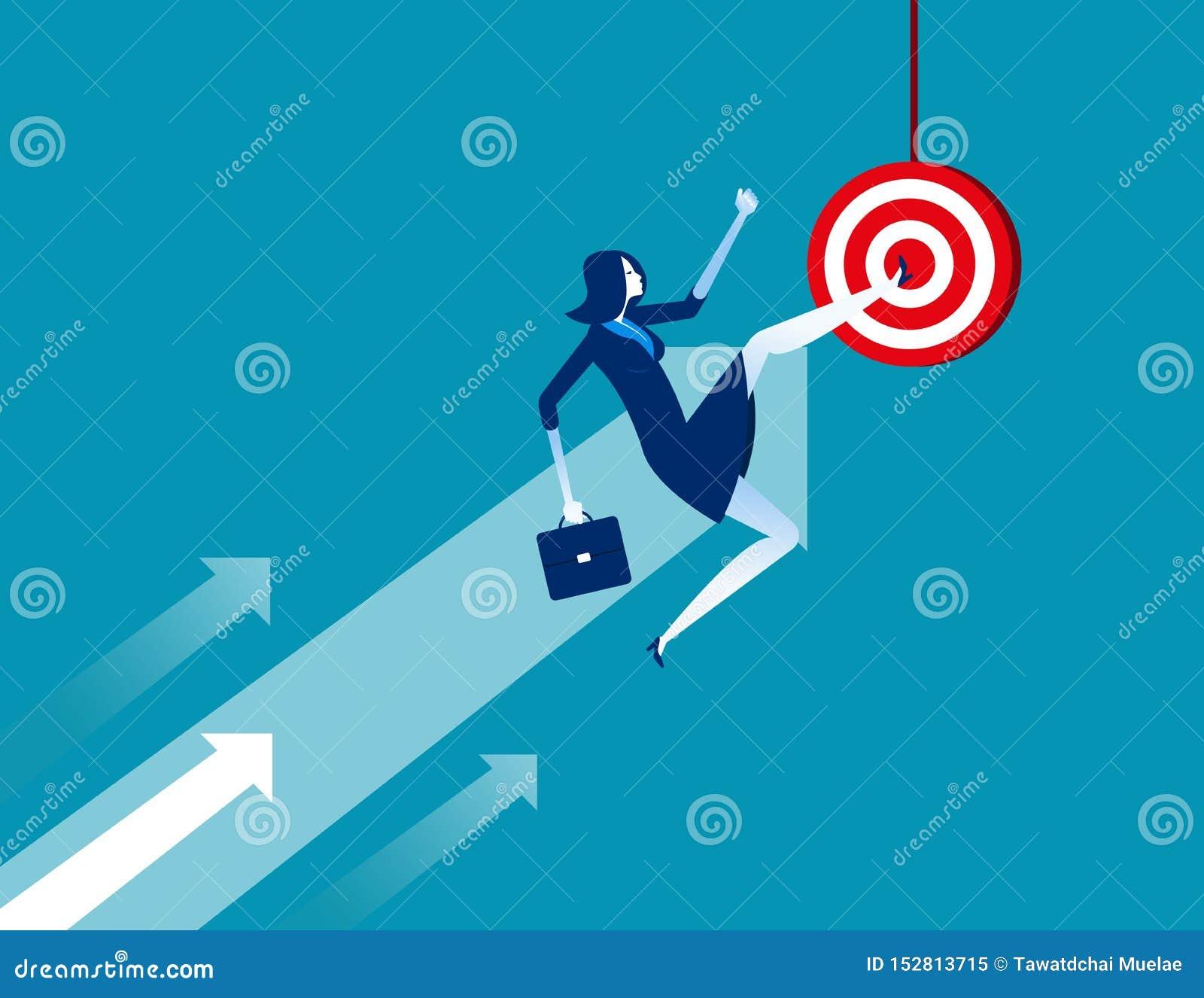 Affärskvinna som sparkar målet Illustration f?r begreppsaff?rsvektor Plant tecknad filmtecken, framgång, pilsymbol