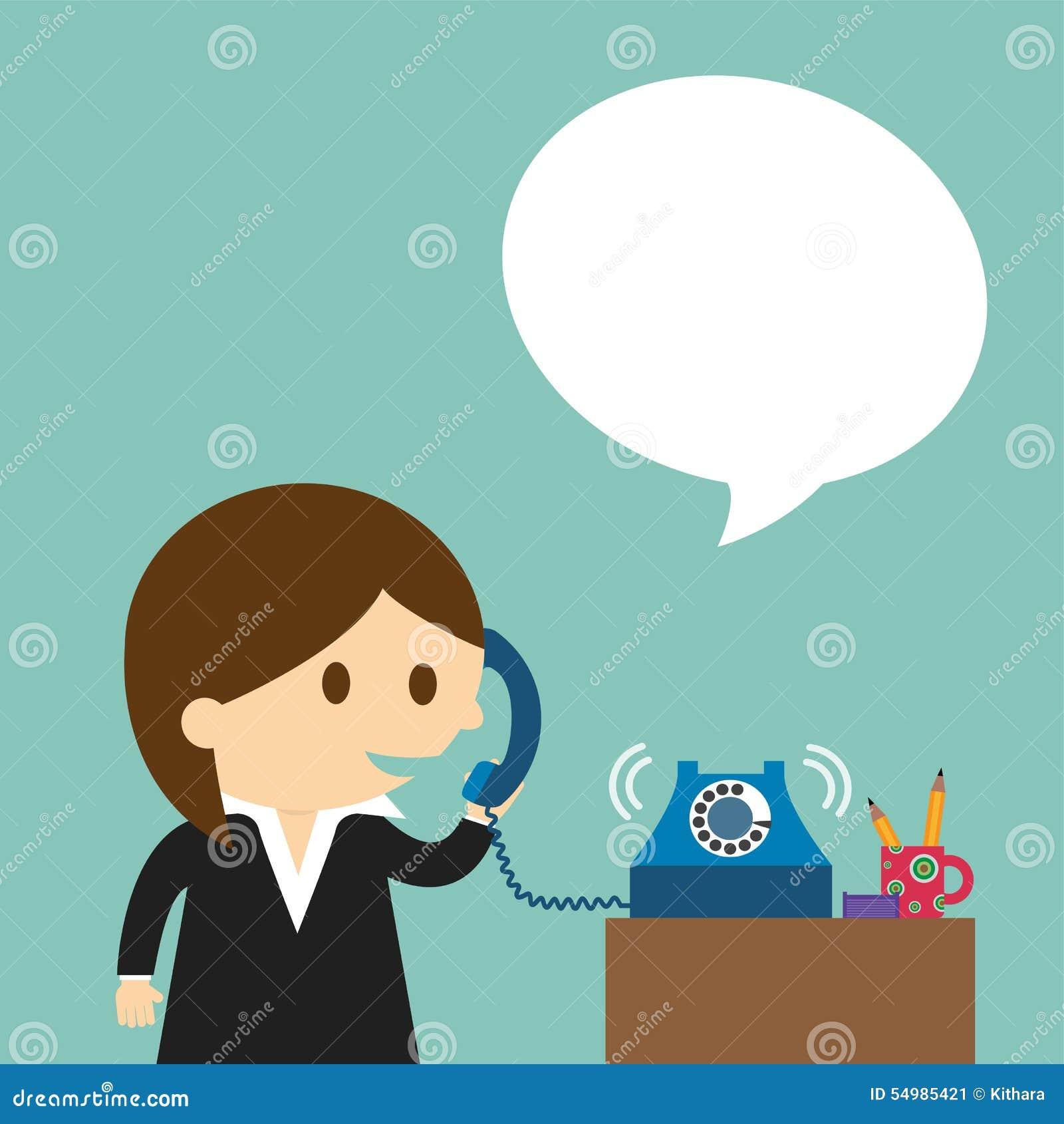Affärskvinna som talar in i en telefon