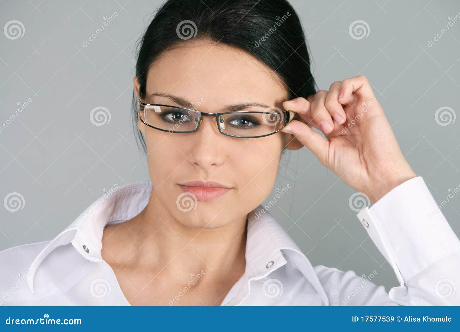 Affärskvinnaglasögonslitage