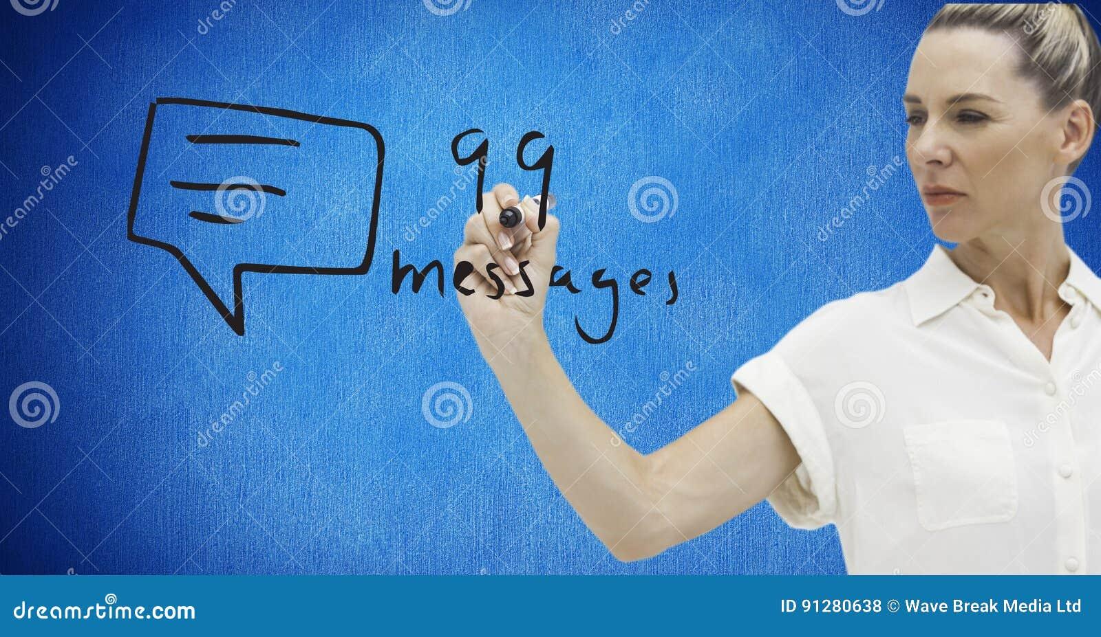 Affärskvinnahandstilnummer och text på skärmen