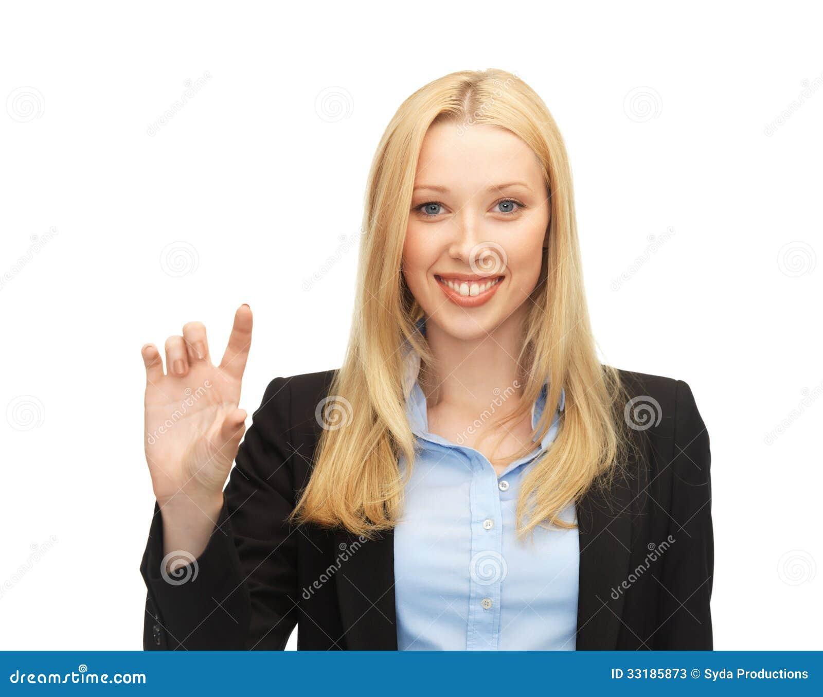 Affärskvinnainnehav något som är imaginär