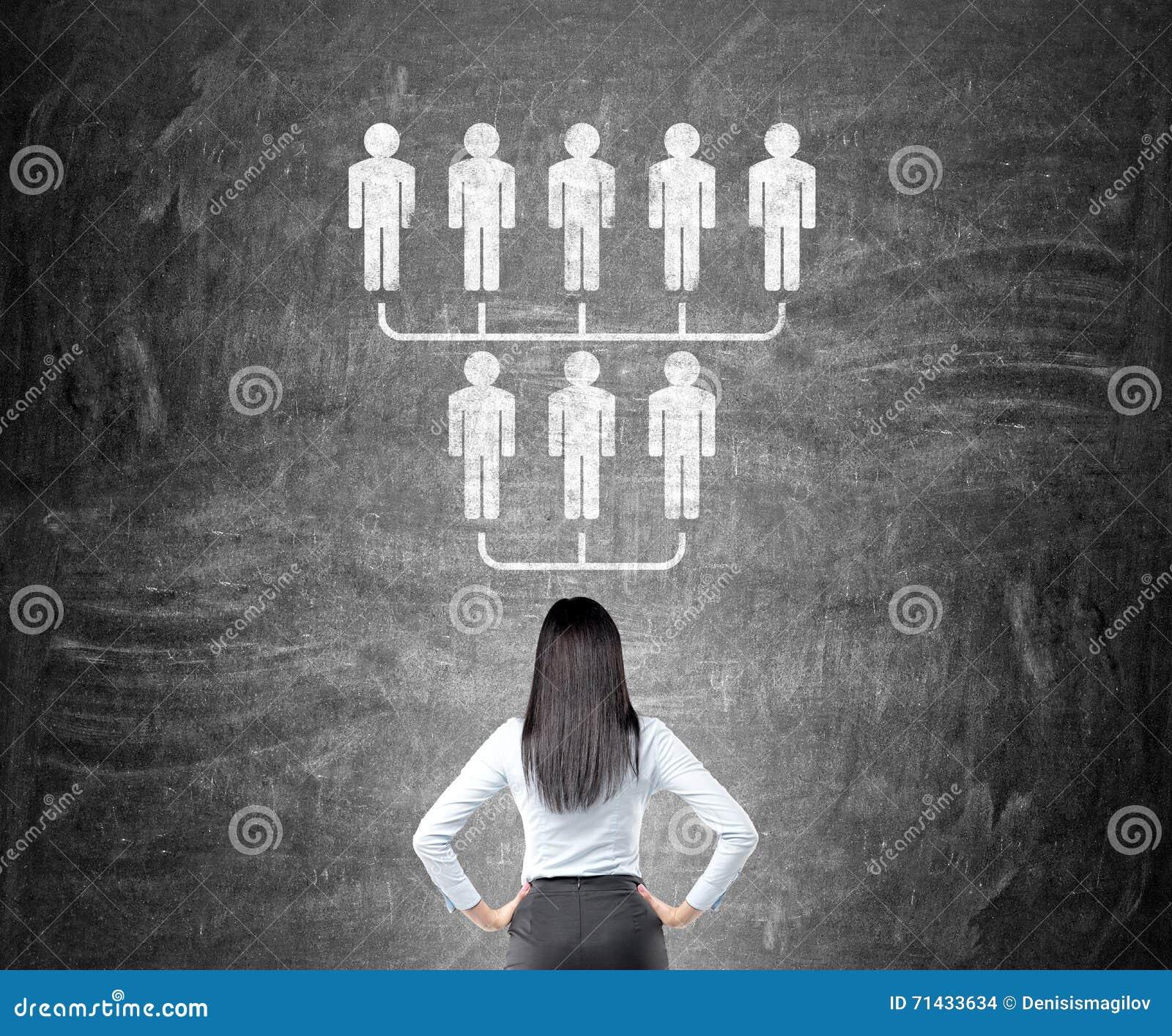 Affärskvinnan som ser hierarki, skissar