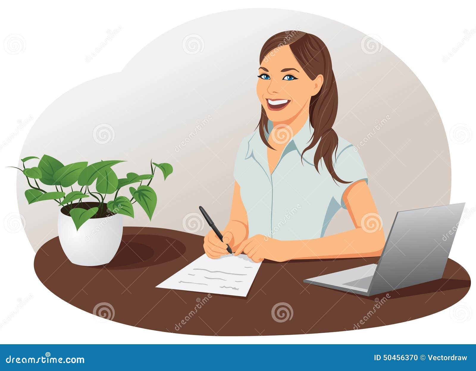 Affärskvinnan undertecknar dokumentet