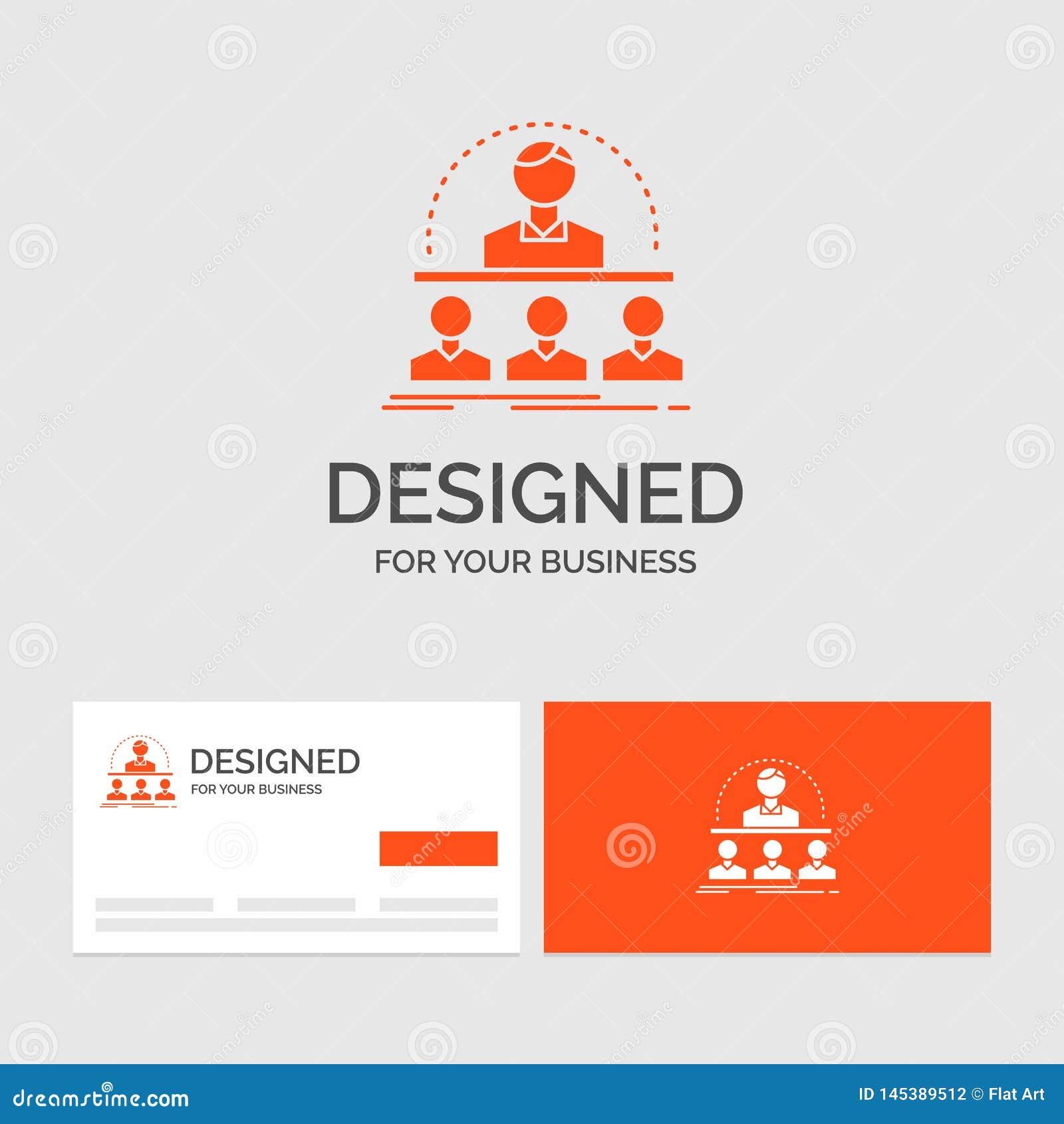 Affärslogomall för affär, lagledare, kurs, instruktör, mentor Orange visitkortar med m?rkeslogomallen