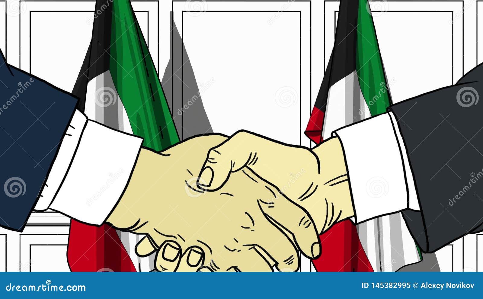 Aff?rsm?n eller politiker som skakar h?nder mot flaggor av Kuwait F?r m?te eller sl?kt tecknad filmillustration f?r samarbete