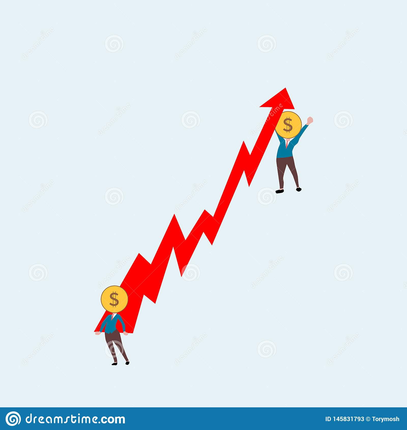 Affärsmän lyfter upp den röda pilen dollarhuvudmänniska