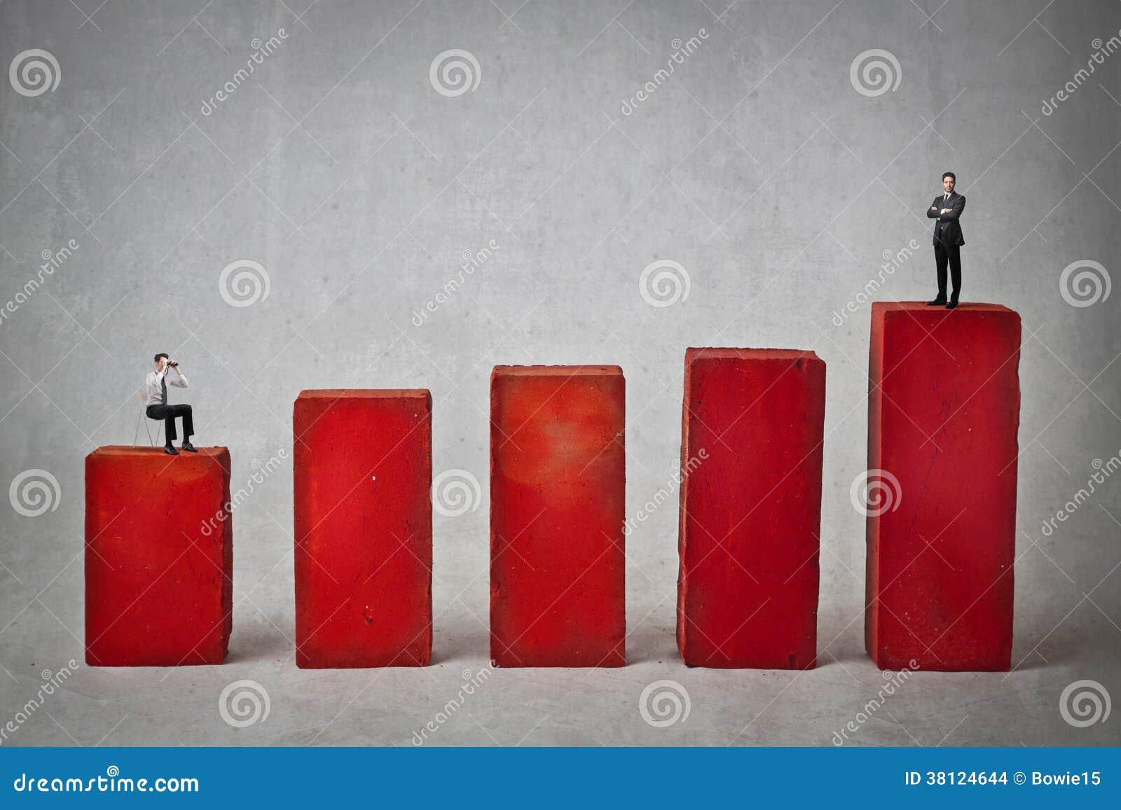 Affärsmän på ett rött diagram