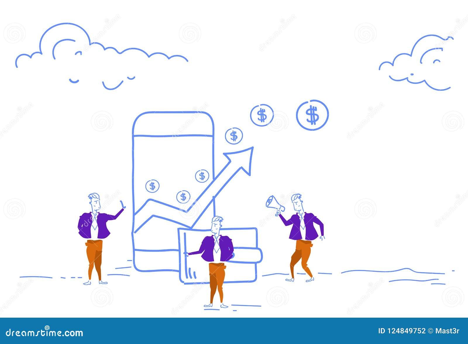 Affärsmän som använder den finansiella pilen för den mobila betalningapplikationen upp dollar för rikedom för pengartillväxt, myn