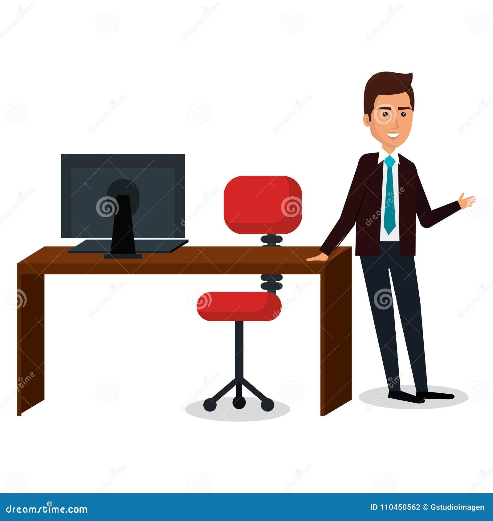 Affärsman i arbetsplatstecken