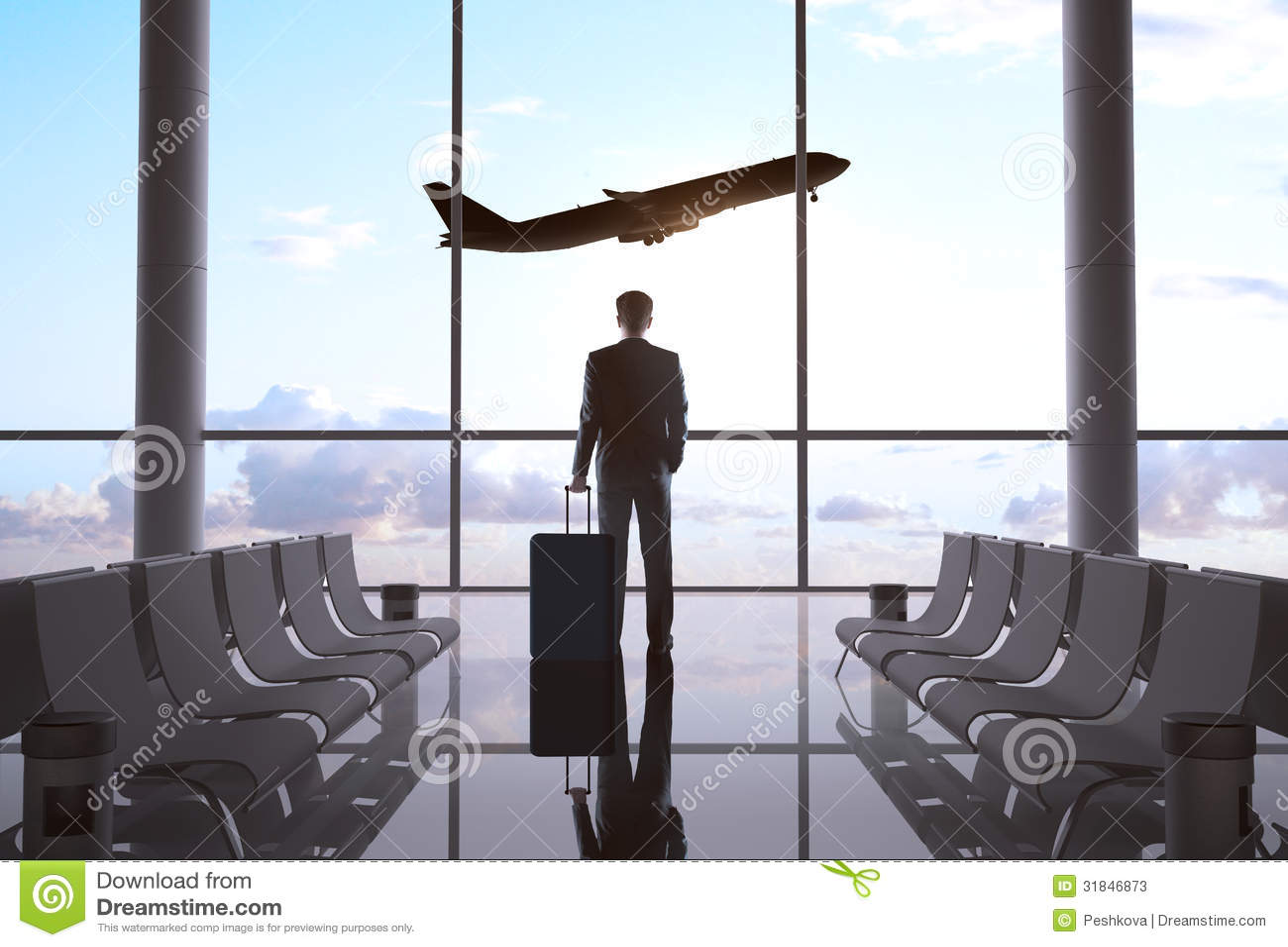 Affärsman i flygplats