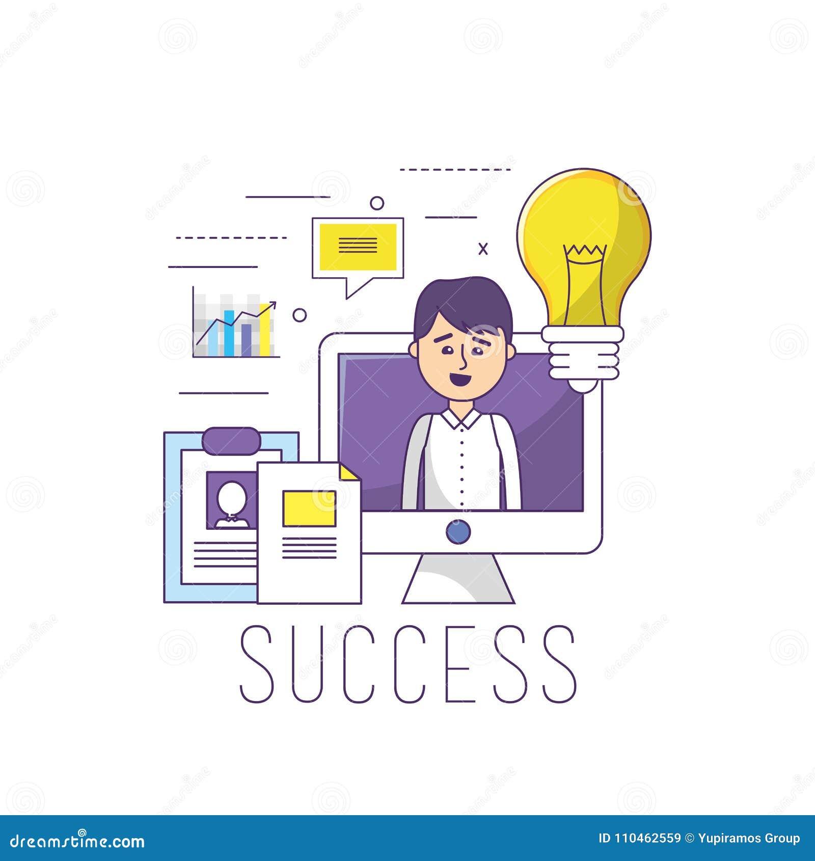 Affärsman i kontoret med informationsstrategi om dator