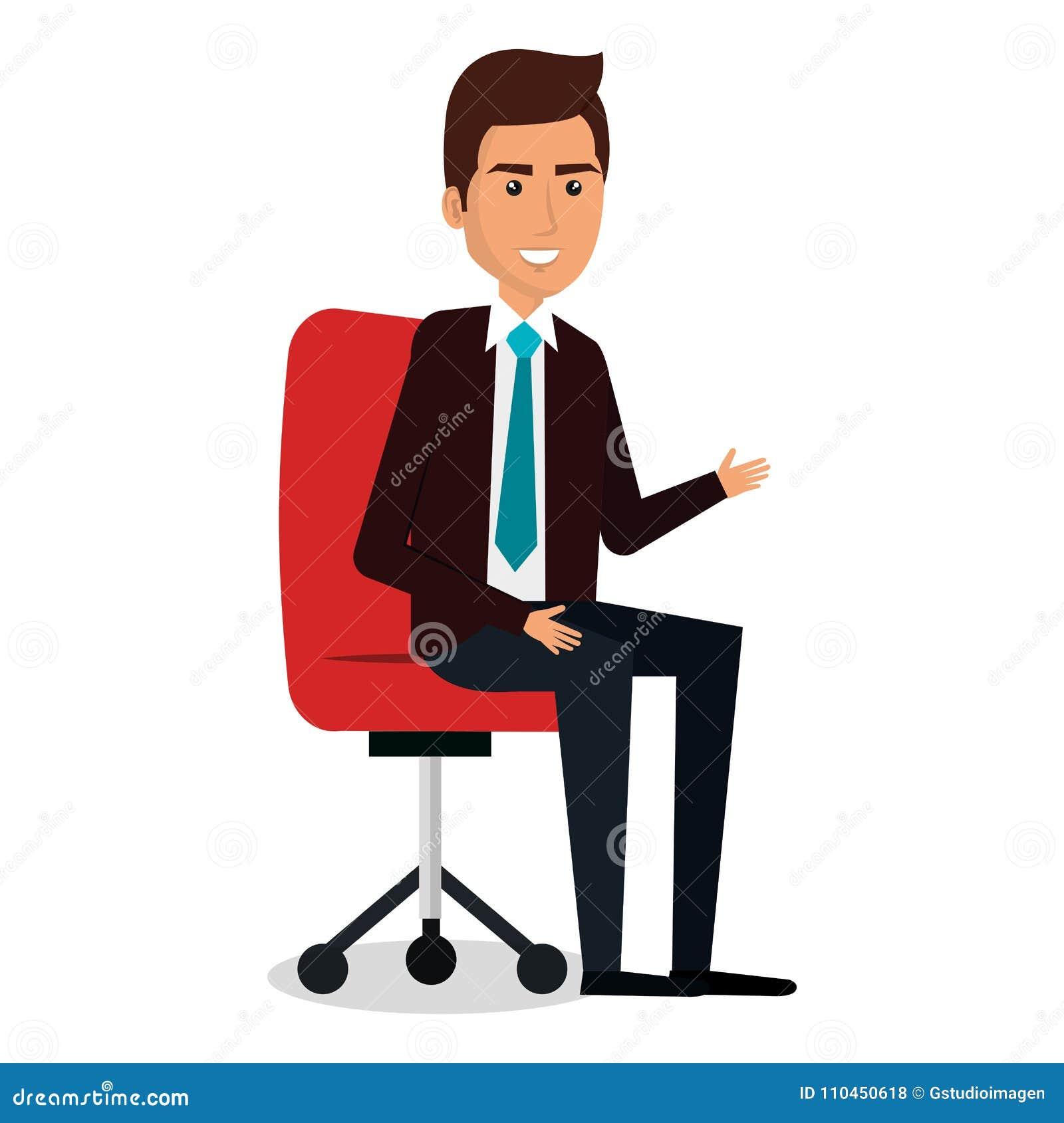 Affärsman i stolarbetsplatstecken
