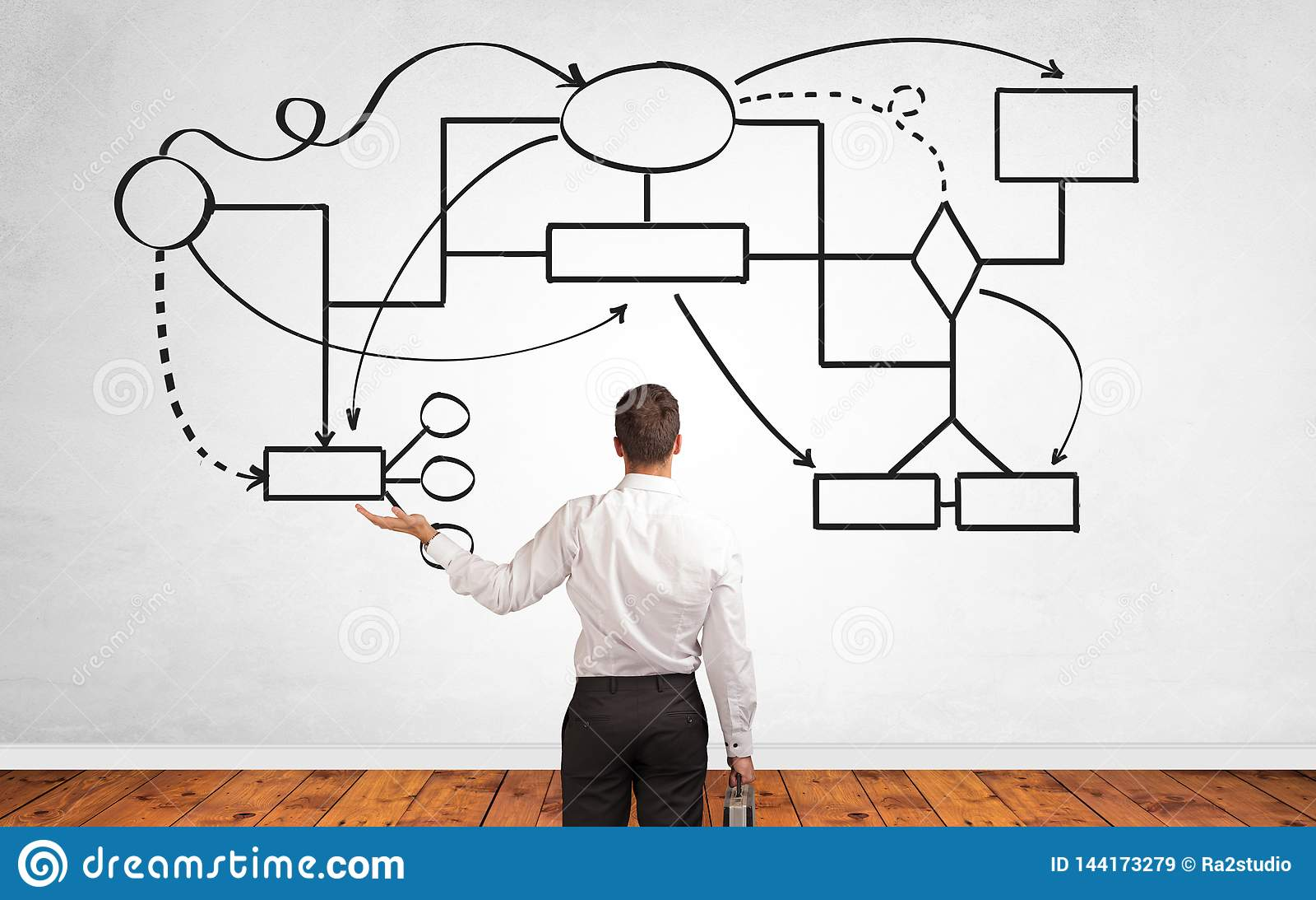 Affärsman i tvivel som söker efter lösningsbegrepp med det organisatoriska diagrammet