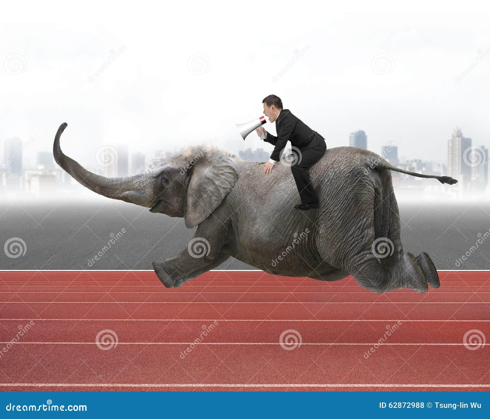 Affärsman med att använda högtalareridning på elefant