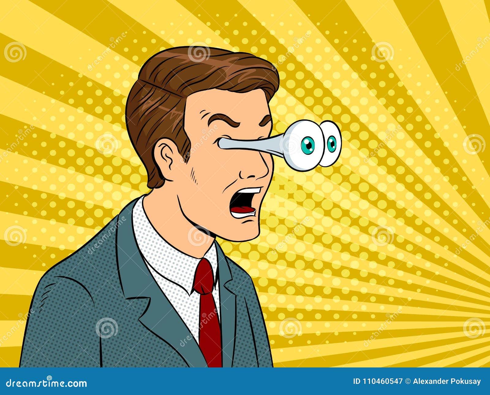 Affärsman med att poppa vektorn för ögonpopkonst