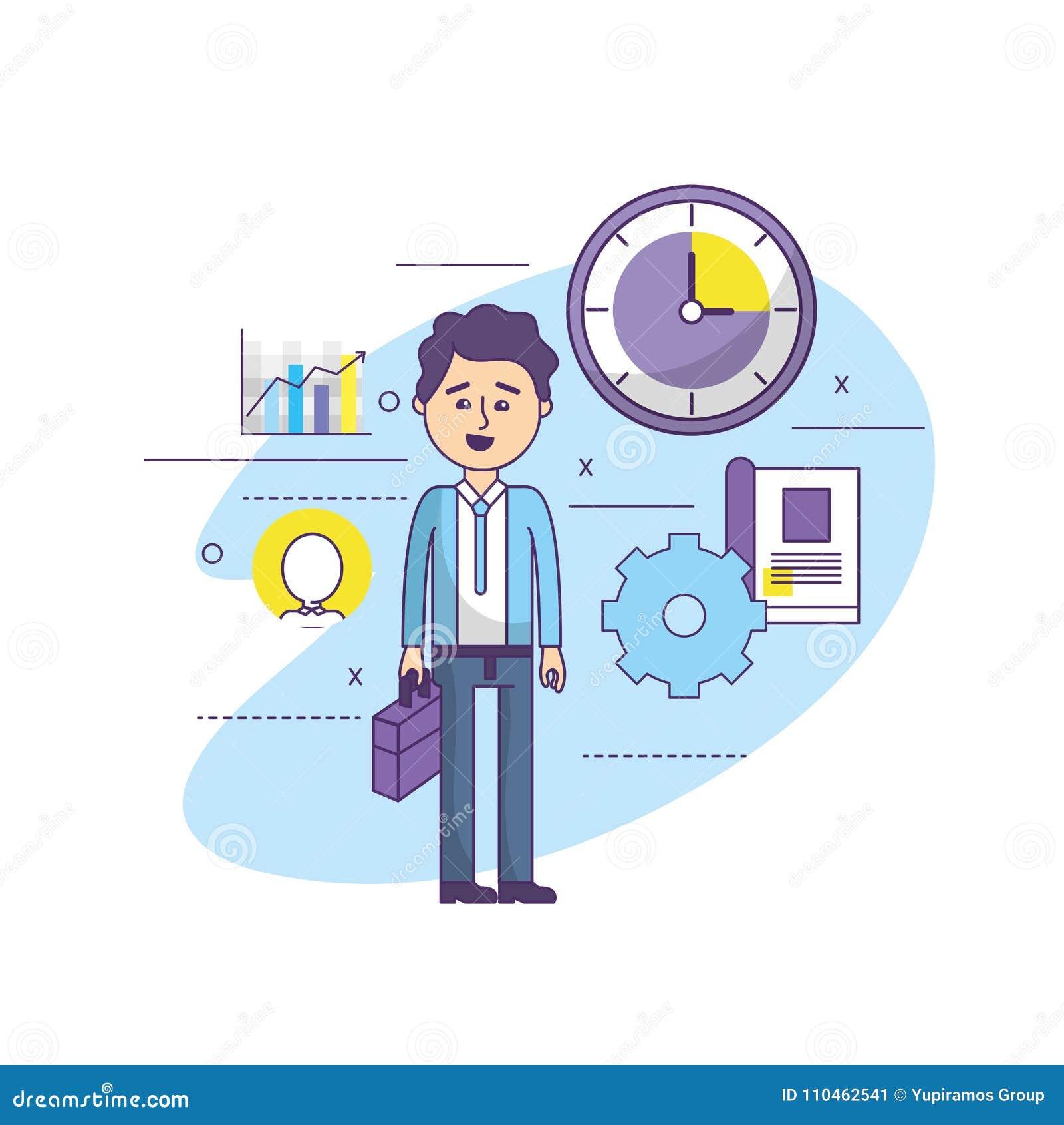 Affärsman med brieafcase i händerna och kugghjulprocessen