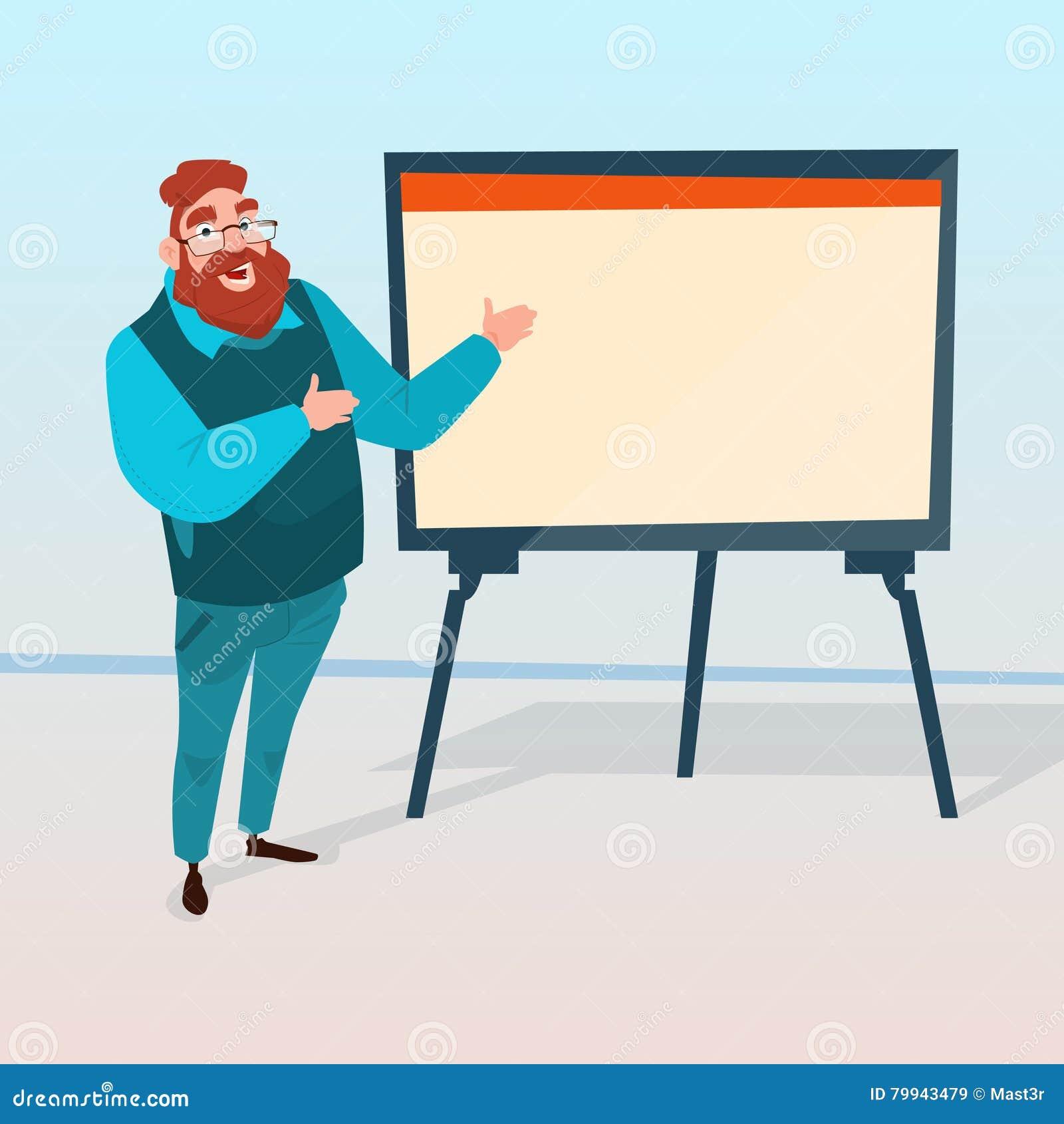 Affärsman med den finansiella grafen för Flip Chart Seminar Training Conference idékläckningpresentation