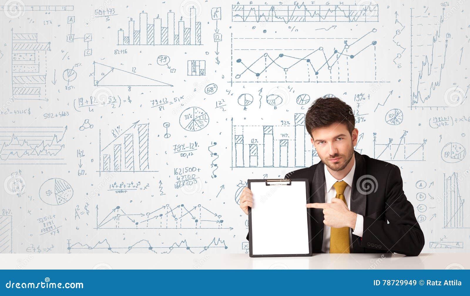Affärsman med diagrambakgrund