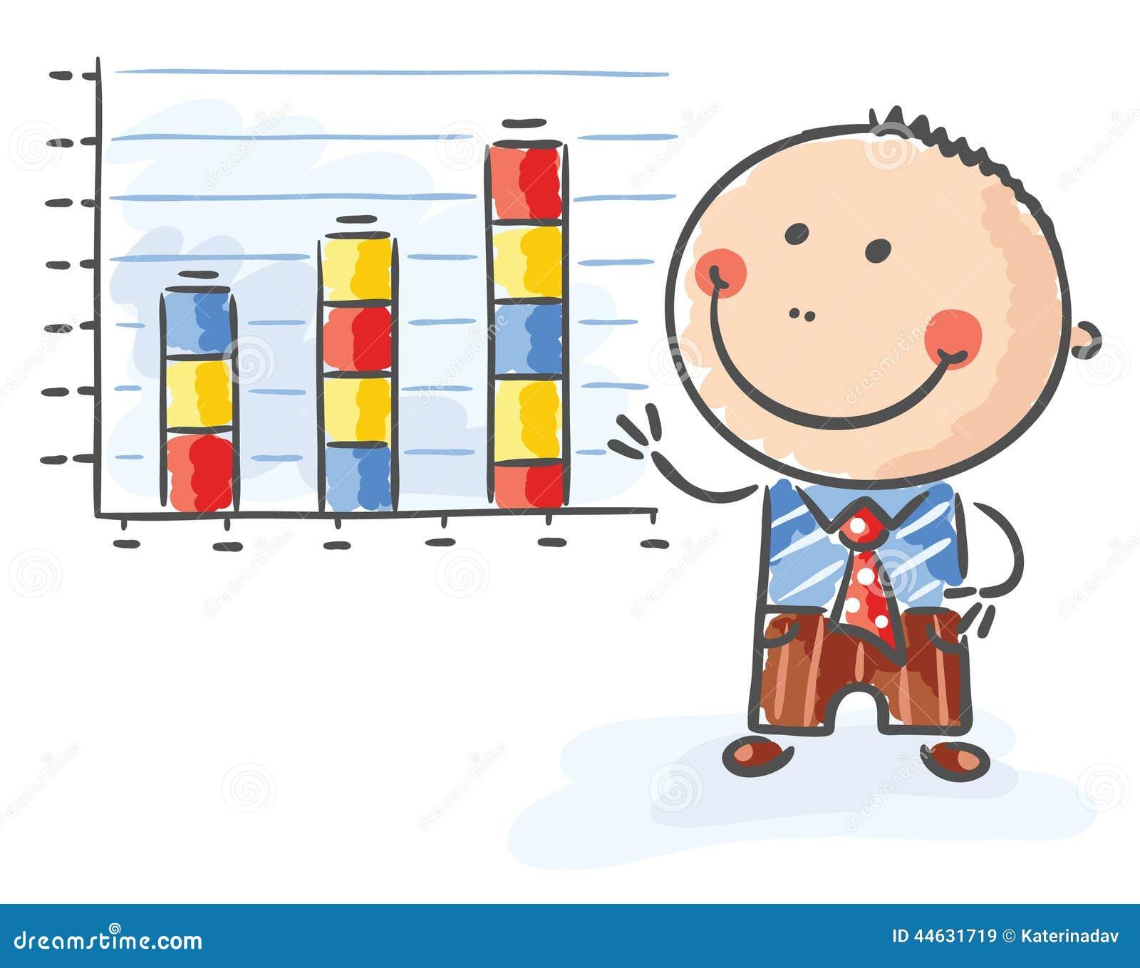 Affärsman med ett växande diagram