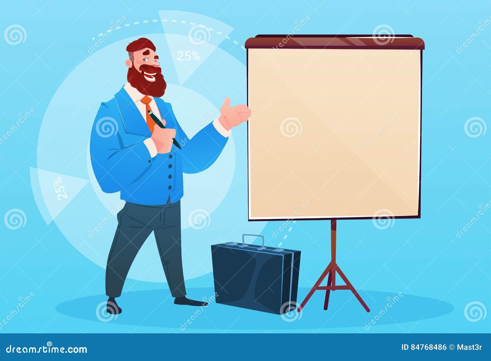 Affärsman med Flip Chart Seminar Training Conference idékläckningpresentation