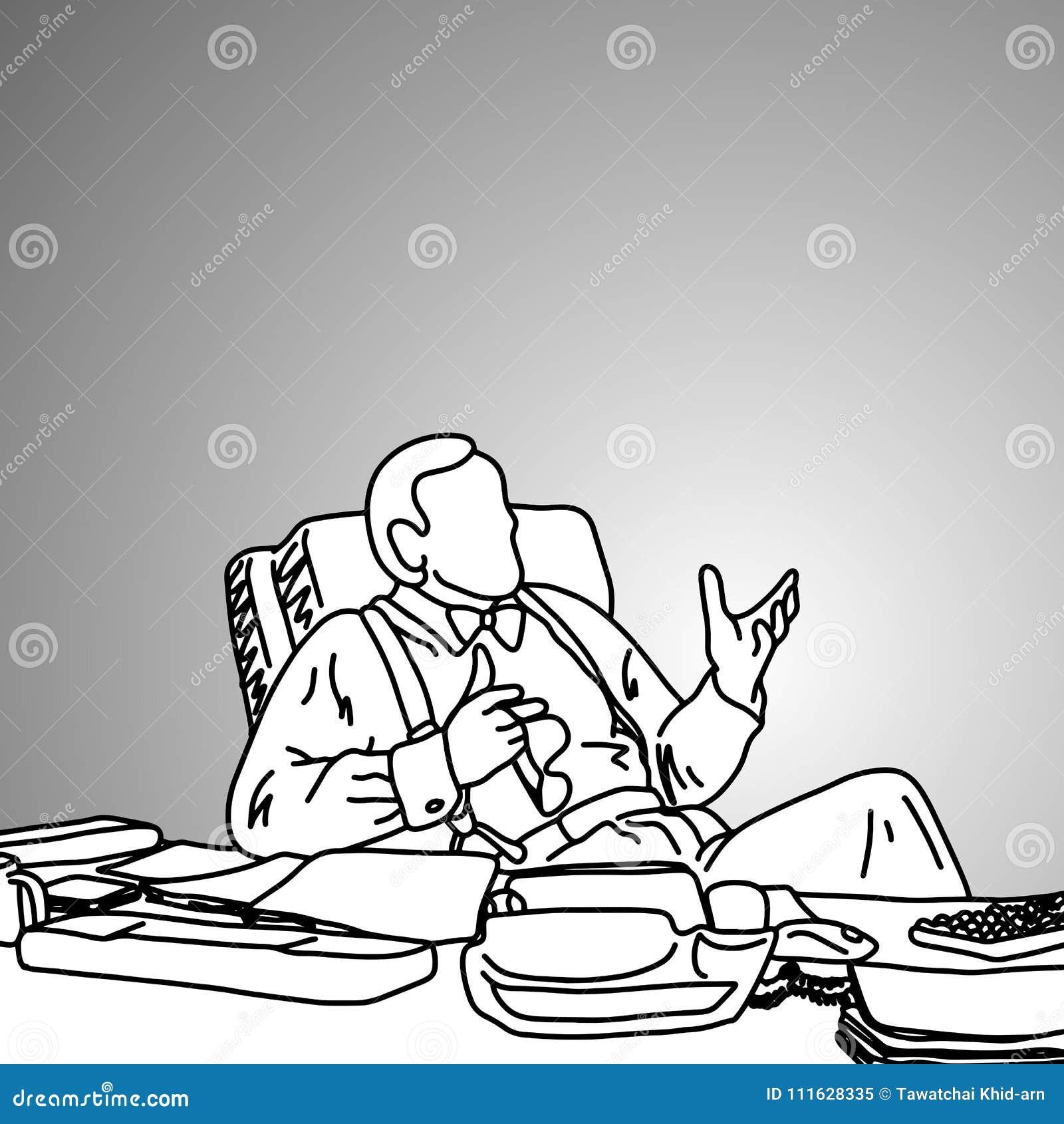 Affärsman med flugan på hans smutsiga funktionsdugliga skrivbordvektorillust