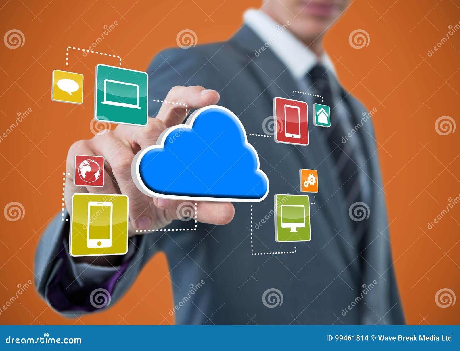 Affärsman med handspridning av att ta molnet med applikationsymboler Orange bakgrund