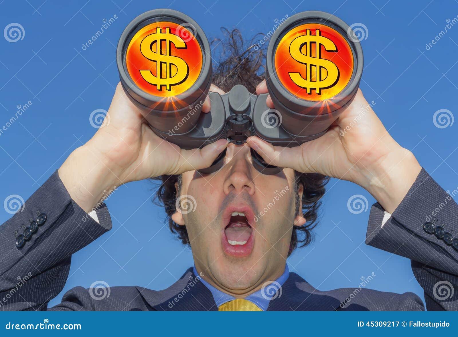 Affärsman med kikare och pengar