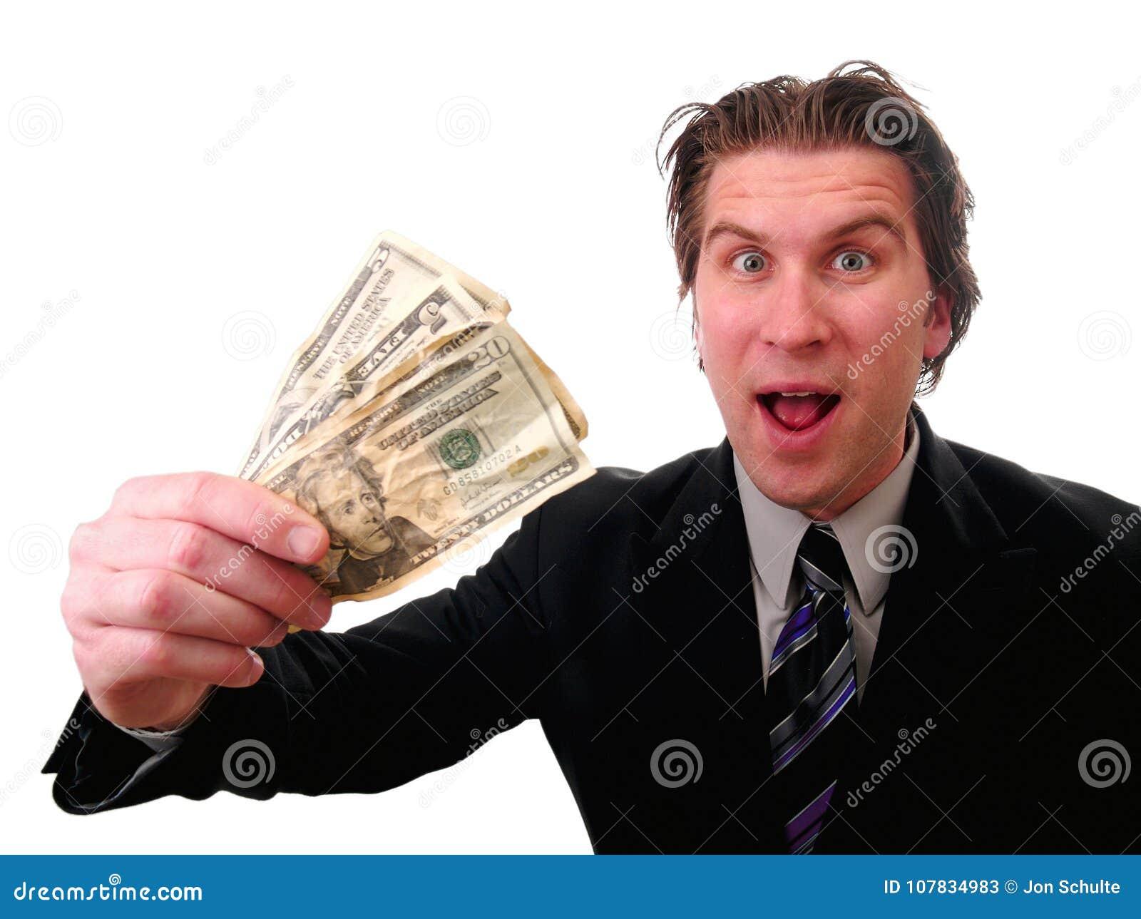 Affärsman med kontanta pengar