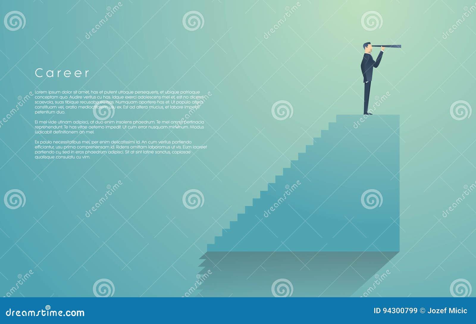 Affärsman med monocularen överst av trappa som ett symbol av affärsvision, ledarskap Affärsman överst av hans karriär