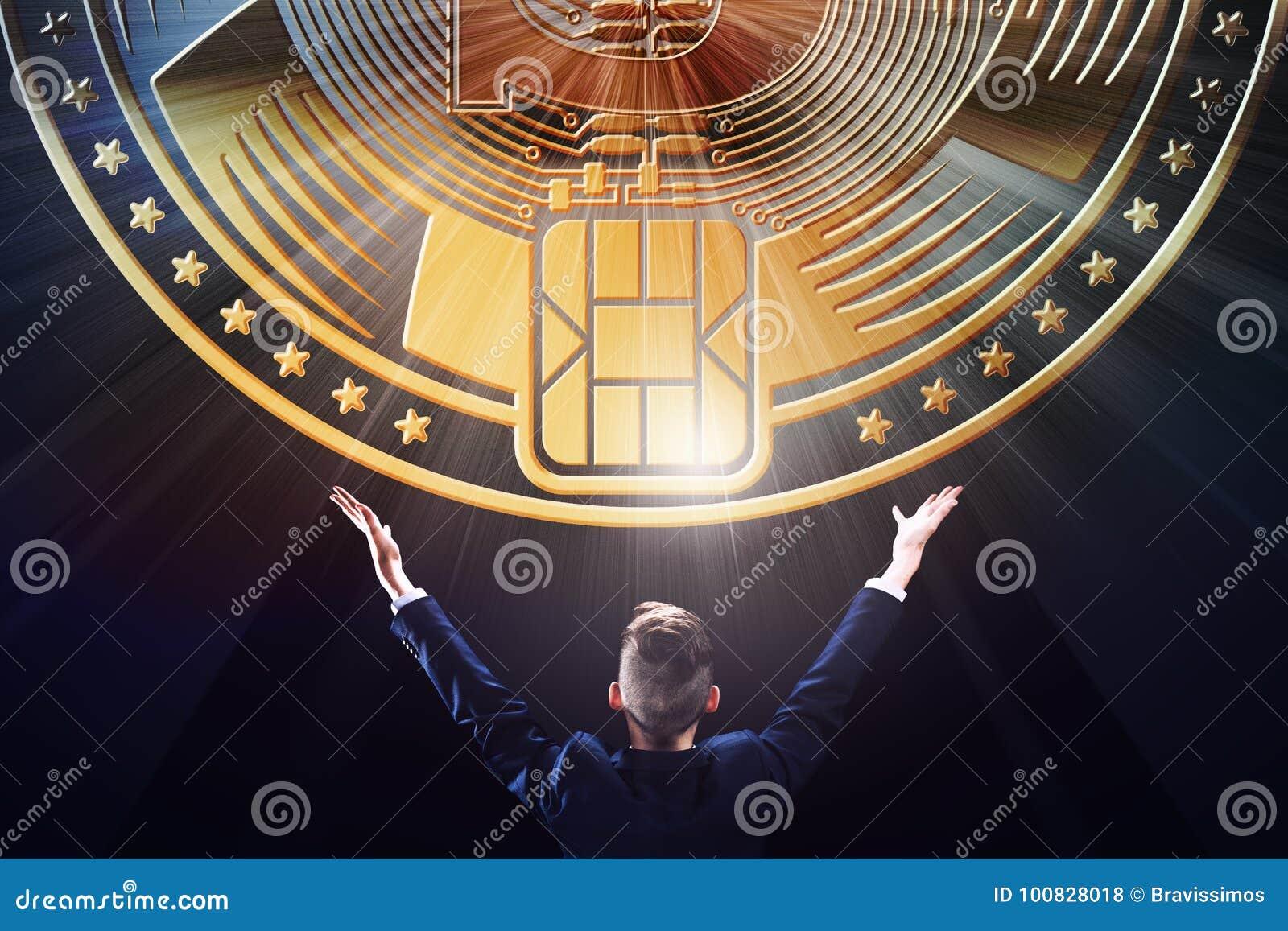 Affärsman med plånboken för mynt för valuta för bit för kvarterkedja den crypto, affärsE-kommers bankrörelse som bryter begreppsd