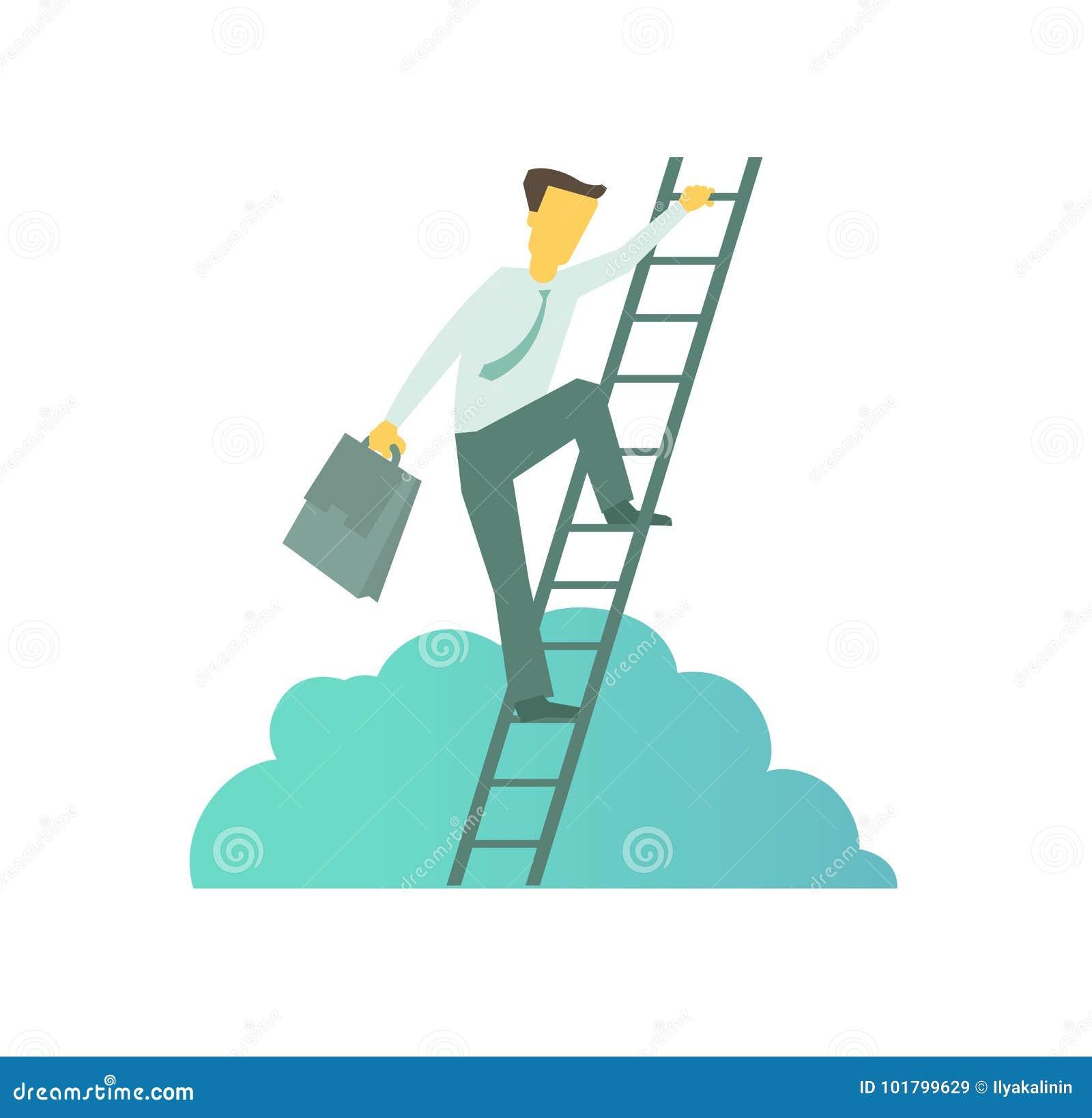 Affärsman med portföljen som klättrar en stege till framgång Klättrar den uppåtriktade rörelsen för trappaaffärsmetaforen