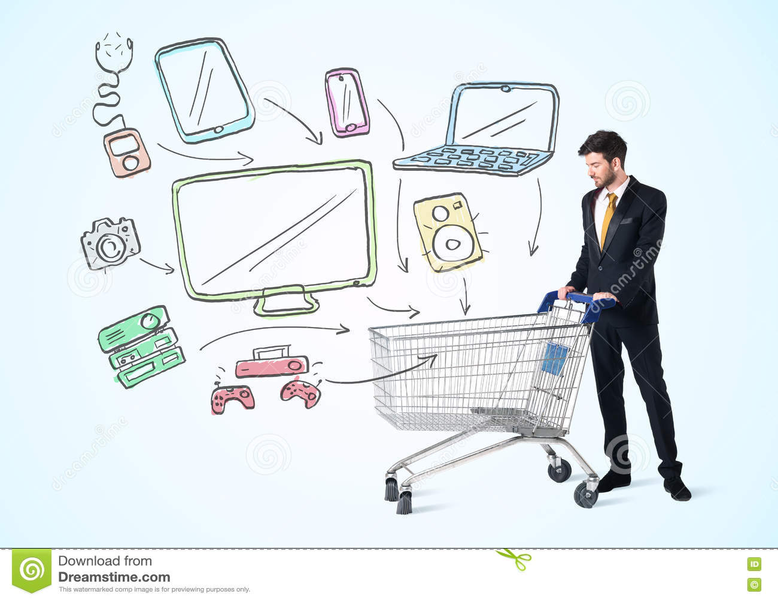Affärsman med shoppingvagnen