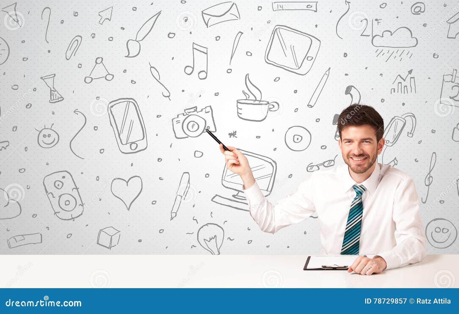 Affärsman med sociala massmediasymboler