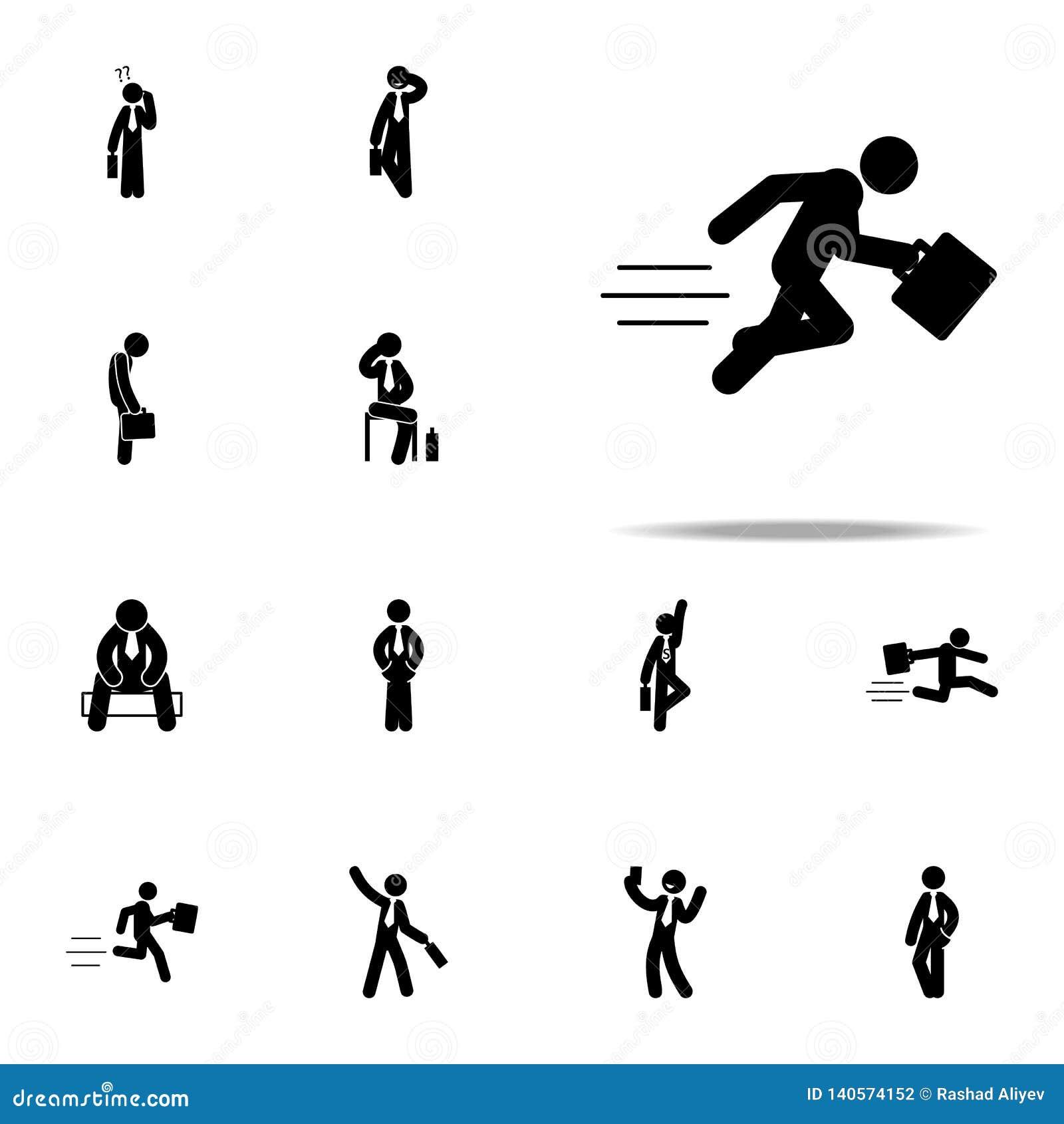 Affärsman och att rusa, snabb rinnande symbol Universell uppsättning för affärsmansymboler för rengöringsduk och mobil