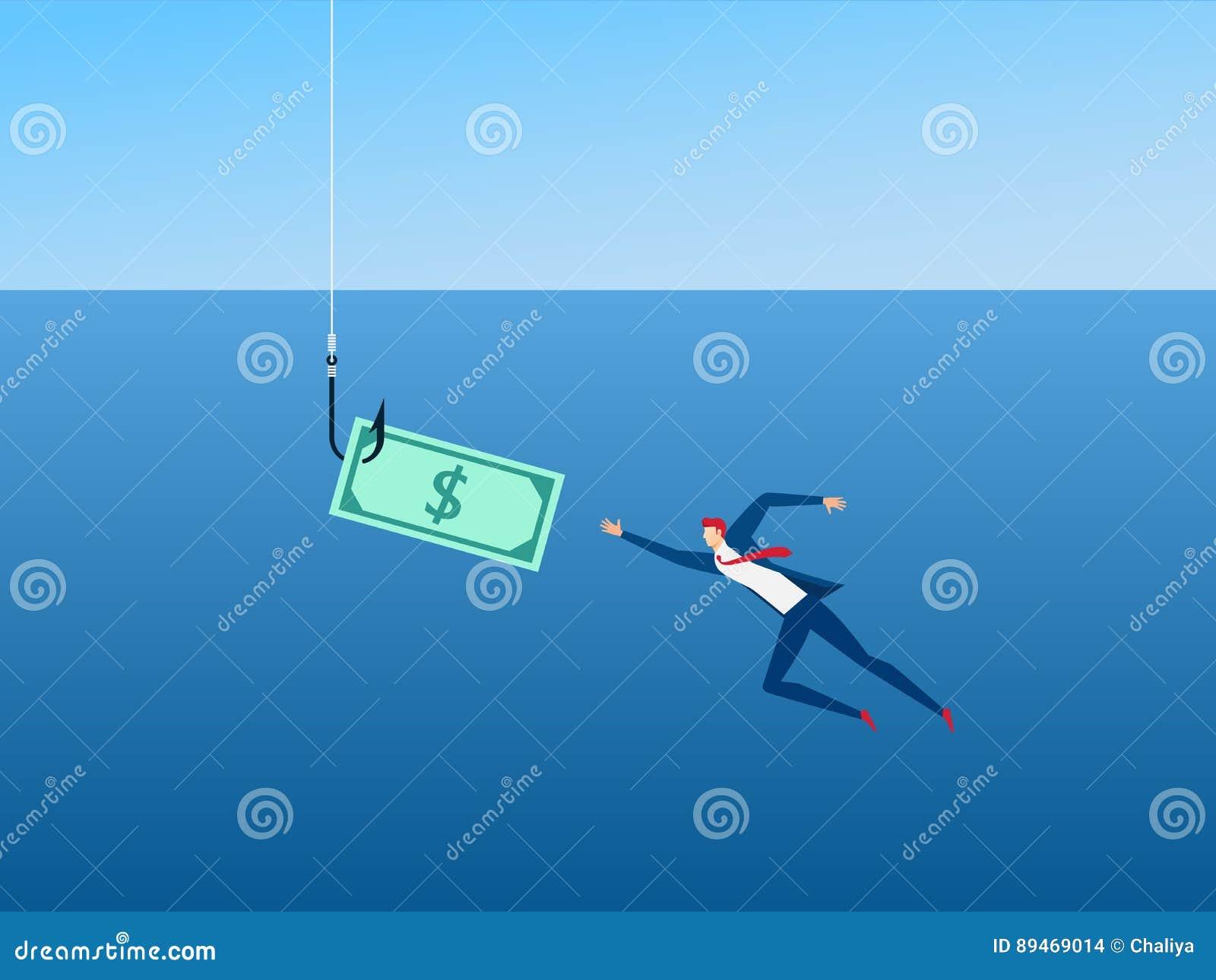 Affärsman och pengar på kroken som betekapitalism Pengarfällabegrepp