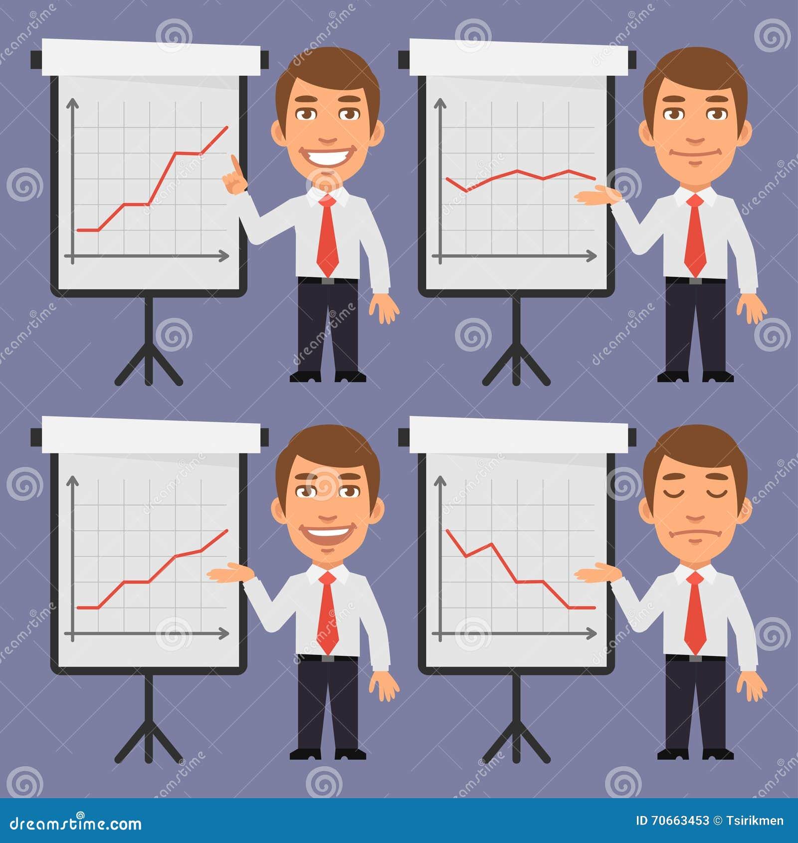 Affärsman Points på Flip Chart med grafer