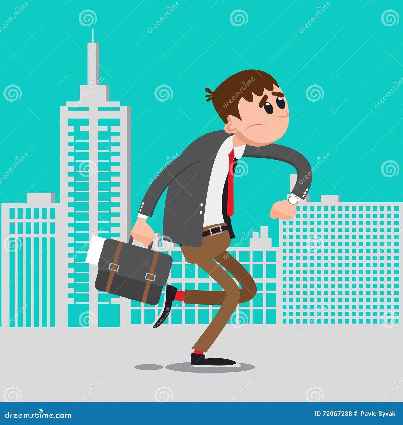 Affärsman sent för arbete Manbrådska som arbetar