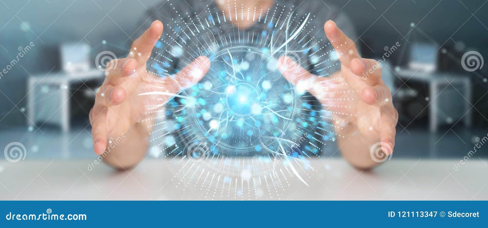 Affärsman som använder den digitala tolkningen för ögonbevakninghologram 3D