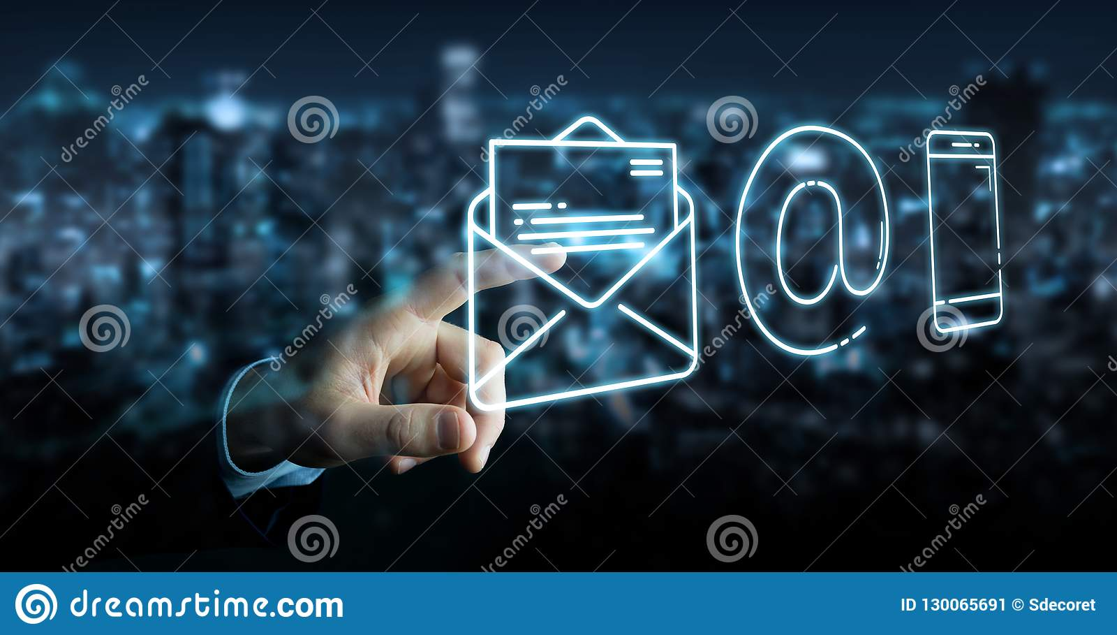 Affärsman som använder den tunna linjen kontaktsymbol