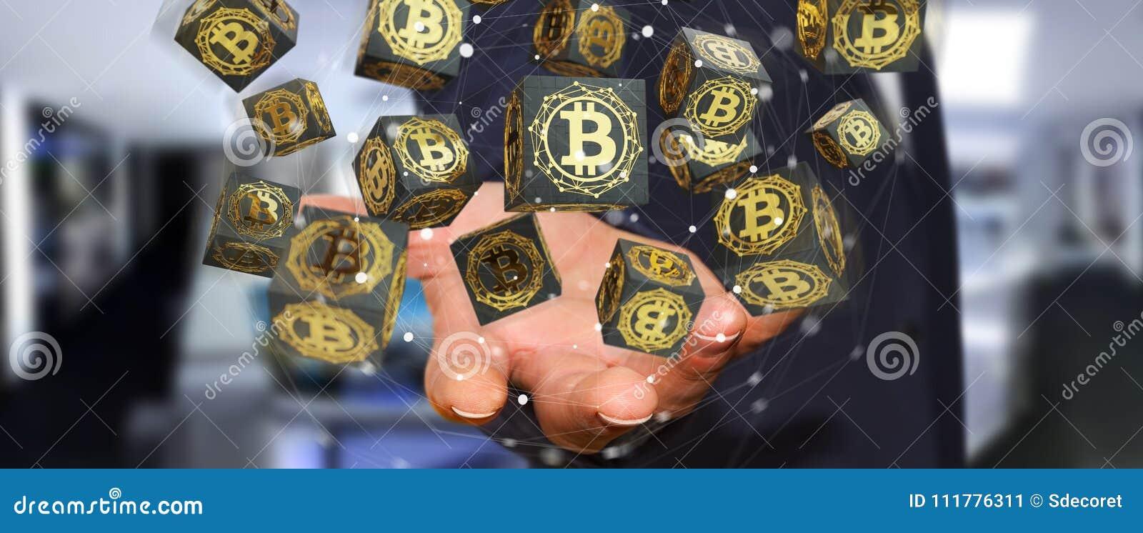 Affärsman som använder tolkningen för bitcoinscryptocurrency 3D