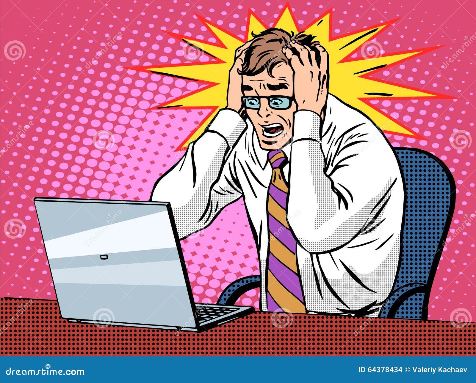 Affärsman som arbetar på bärbar datordåliga nyheternöd